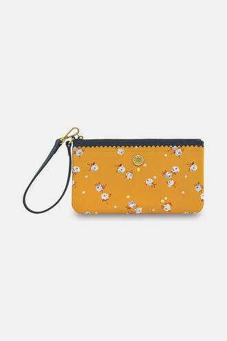 Scalloped Printed Leather Pouch with Wrist Strap