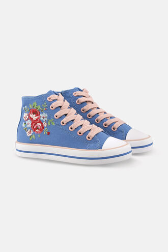 Kids Floral High Top Trainer