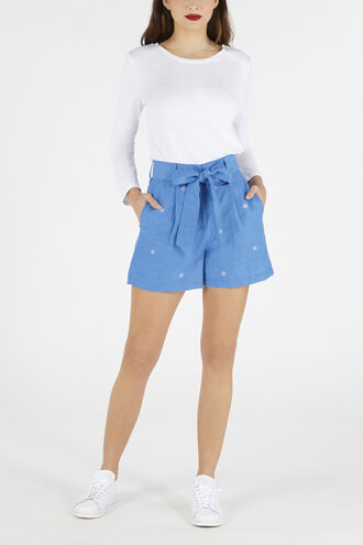 Embroidered Tie Waist Shorts
