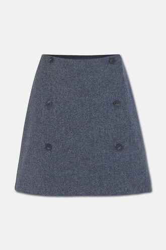 Mini Wrap Blue Wool Tweed Skirt