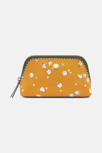 Scalloped Leather Printed Make Up Bag