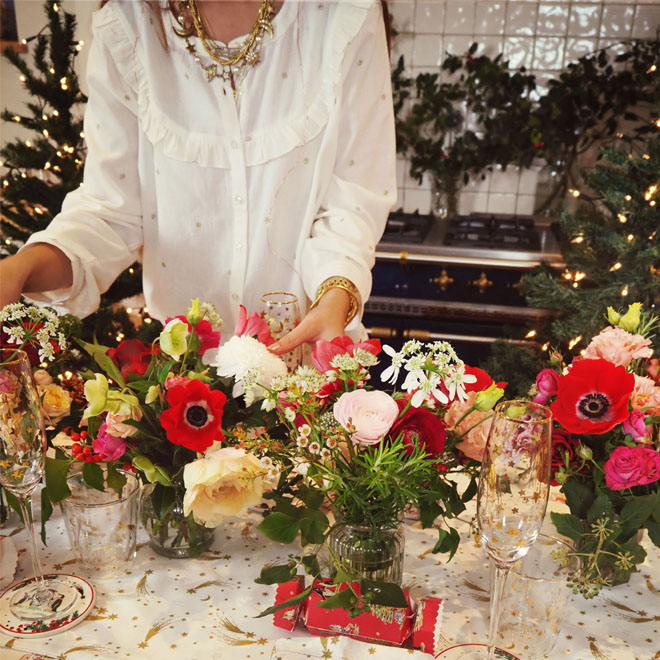 flowers for christmas table