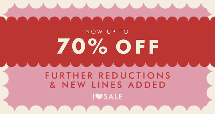 Now up to 70% off. Further reductions and new lines added.