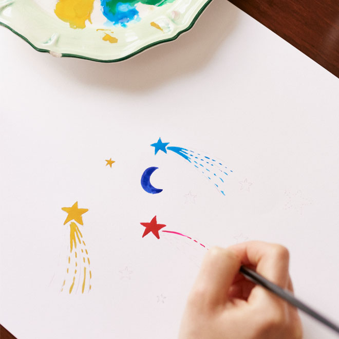How to paint stars and moons print with Cath Kidston designer Emma
