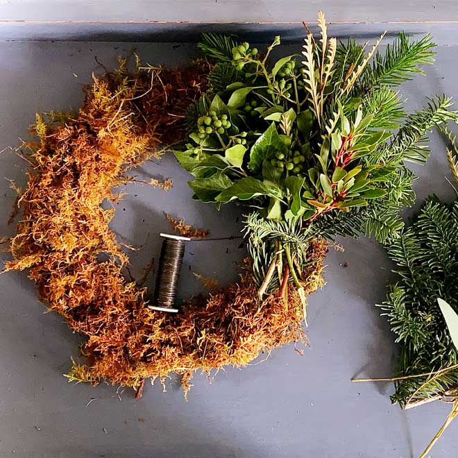 how to Add foliage to homemade christmas wreath - Cath Kidston