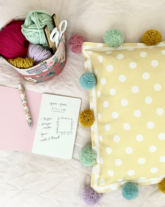 Upcycled cushion with pom poms - Cath Kidston