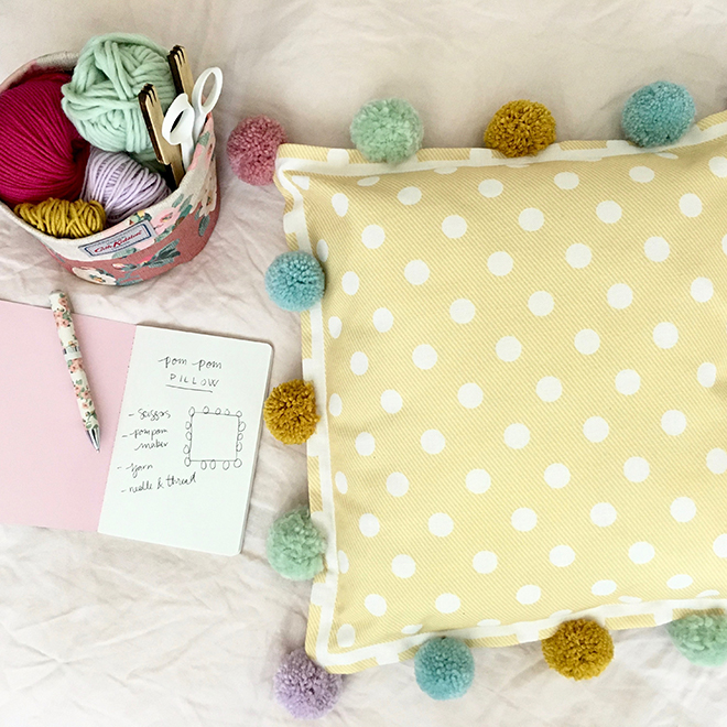 How To Upcycle a Pillow with Pom Poms