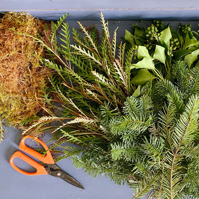 Prepping foliage for a christmas wreath - Cath Kidston