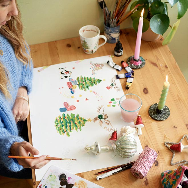Designer paining - Behind the Designs of Christmas at Cath Kidston