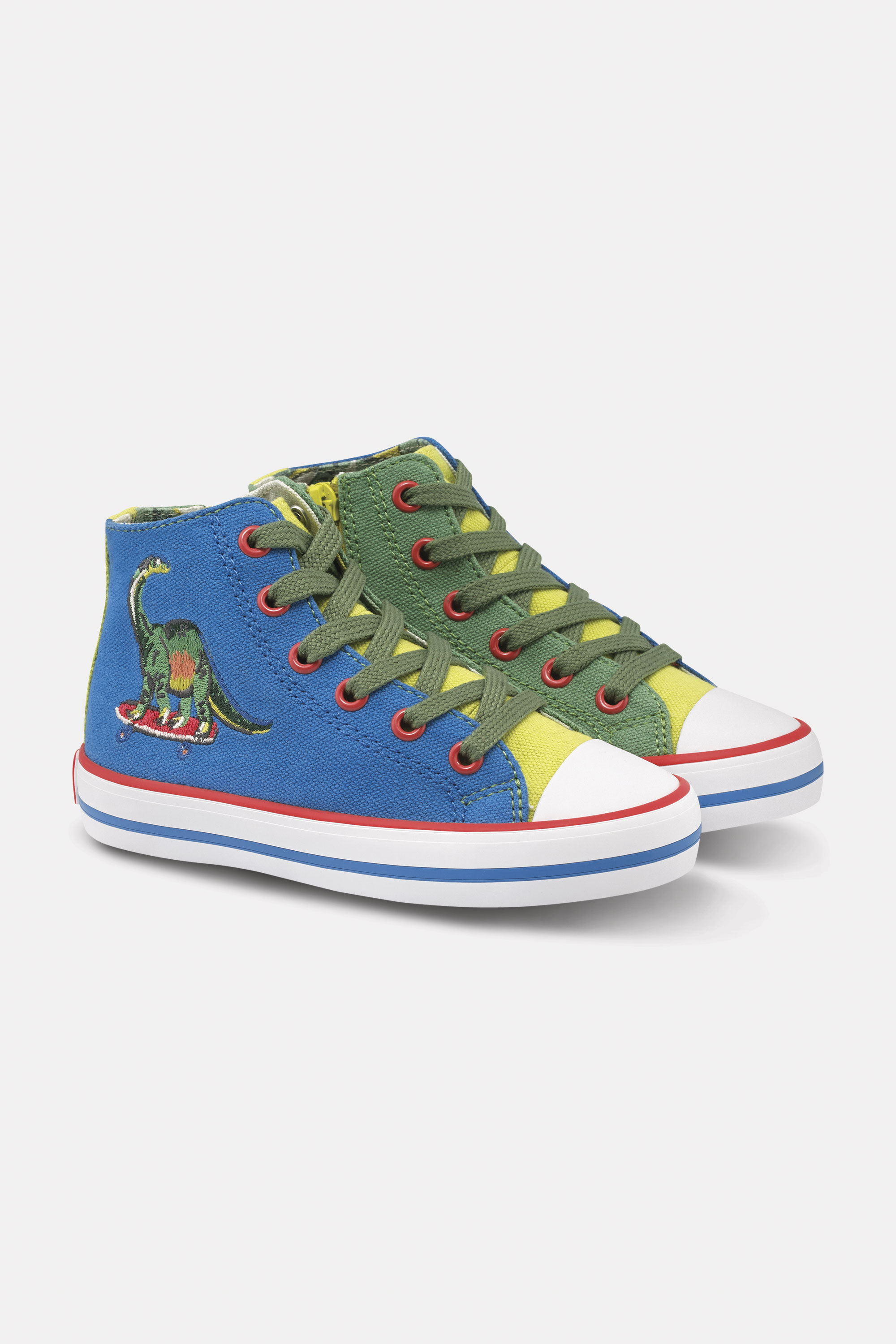 Cath Kidston Kids High Top Trainers Shoes in Oyster Shell, Skateboard Dino, 100% Uncoated Cotton Can