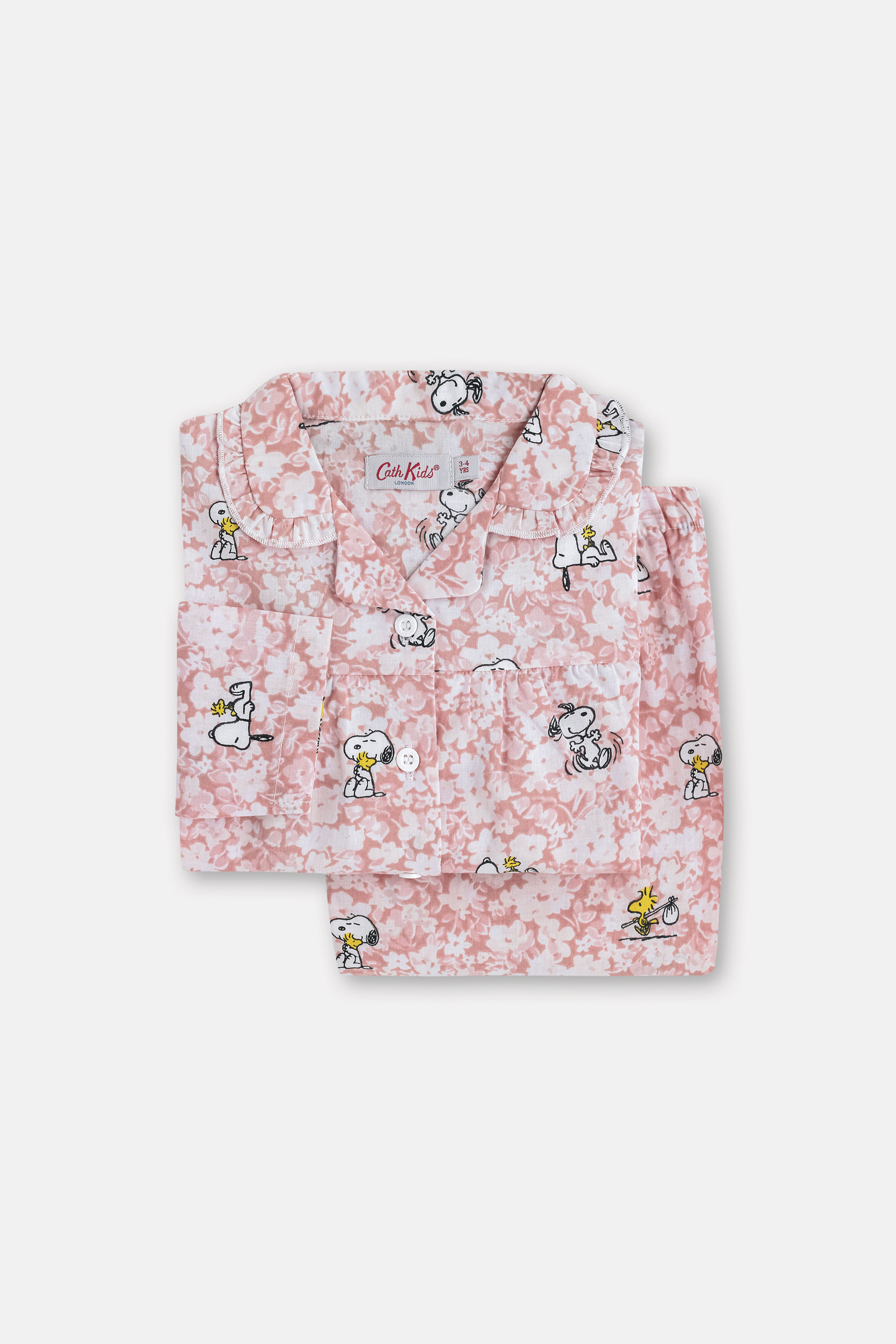 Cath Kidston Kids Woven Pyjamas in Washed Pink, Snoopy, 100% Cotton, 3-4 yr