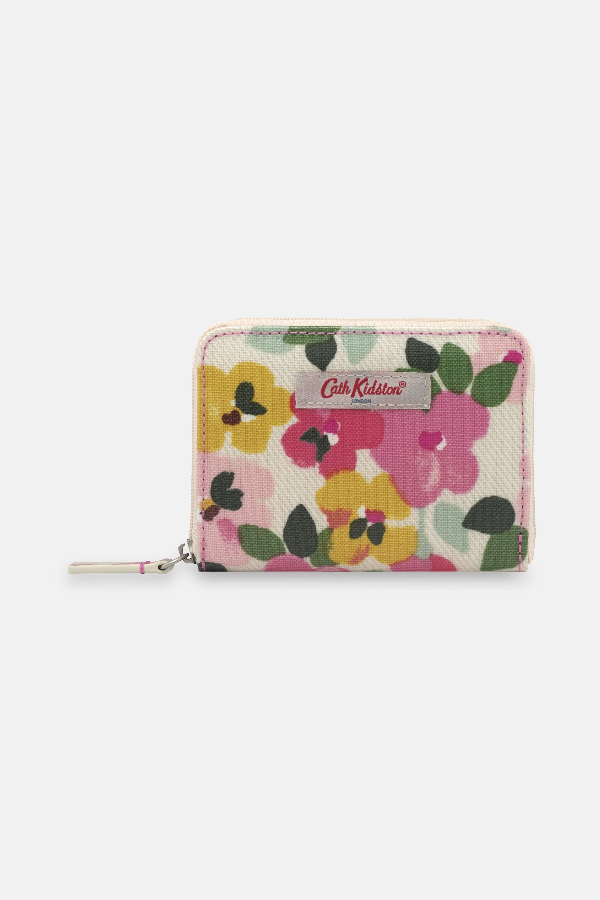 Cath Kidston Mini Continental Zip Wallet in Cream, Large Painted Pansies, 100% PVC Coated Cotton