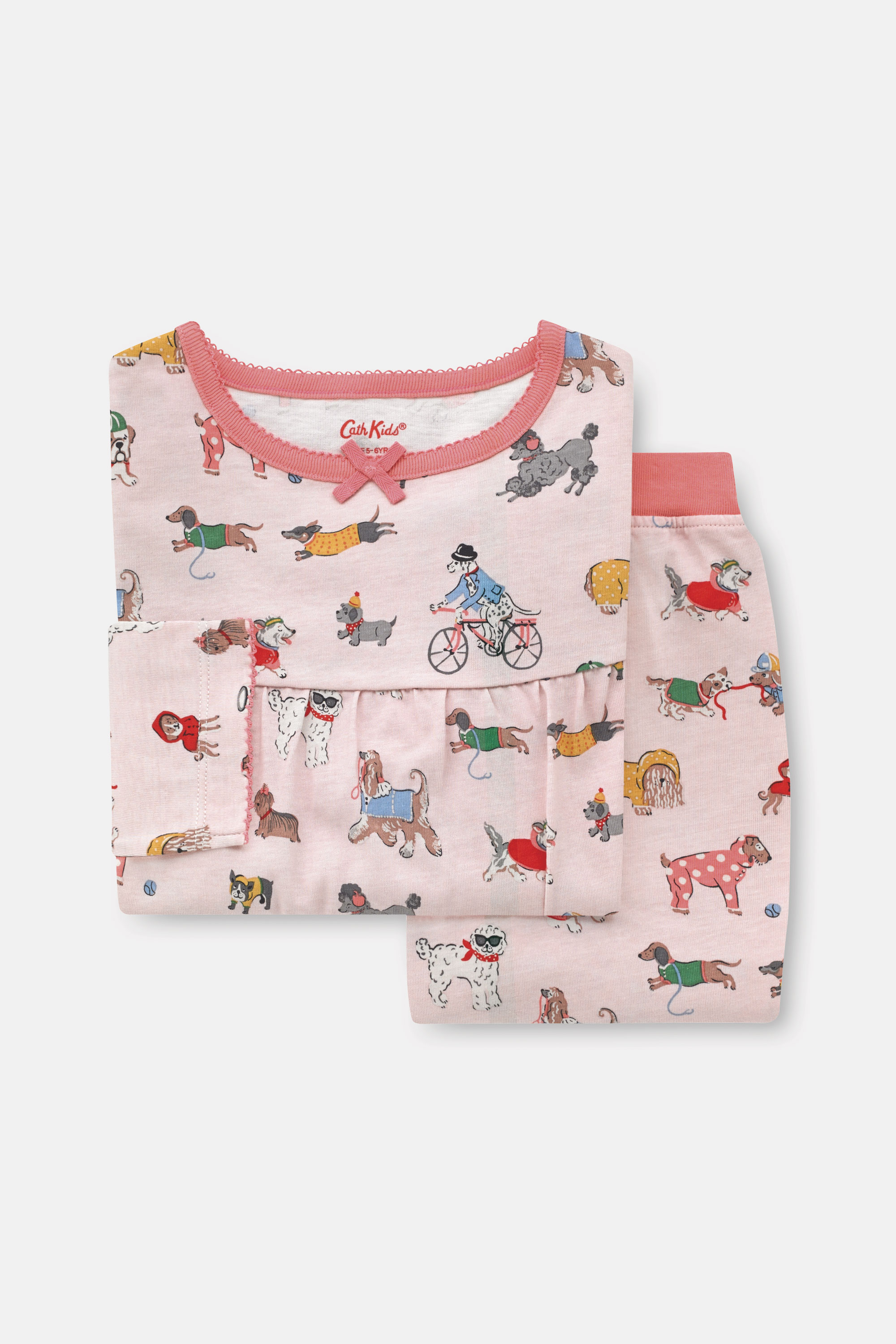 Cath Kidston Small Park Dogs Long Sleeve Jersey Pyjamas in Soft Pink, 5-6 yr