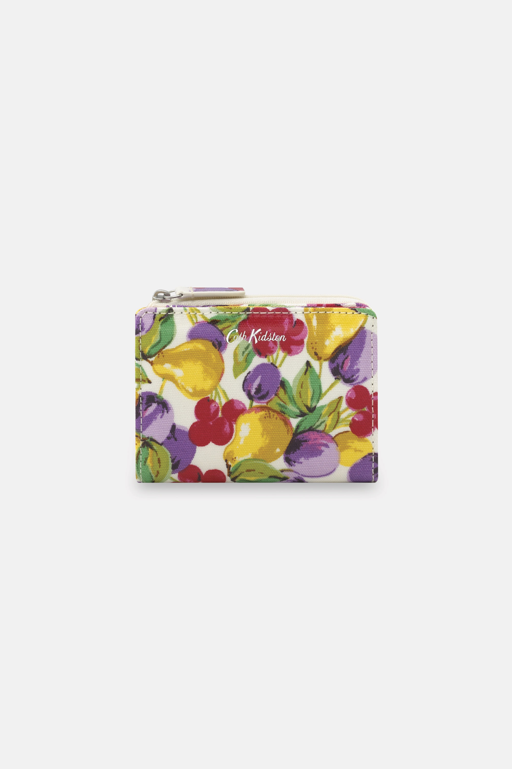 Cath Kidston Small Painted Fruit Slim Pocket Purse in Warm Cream
