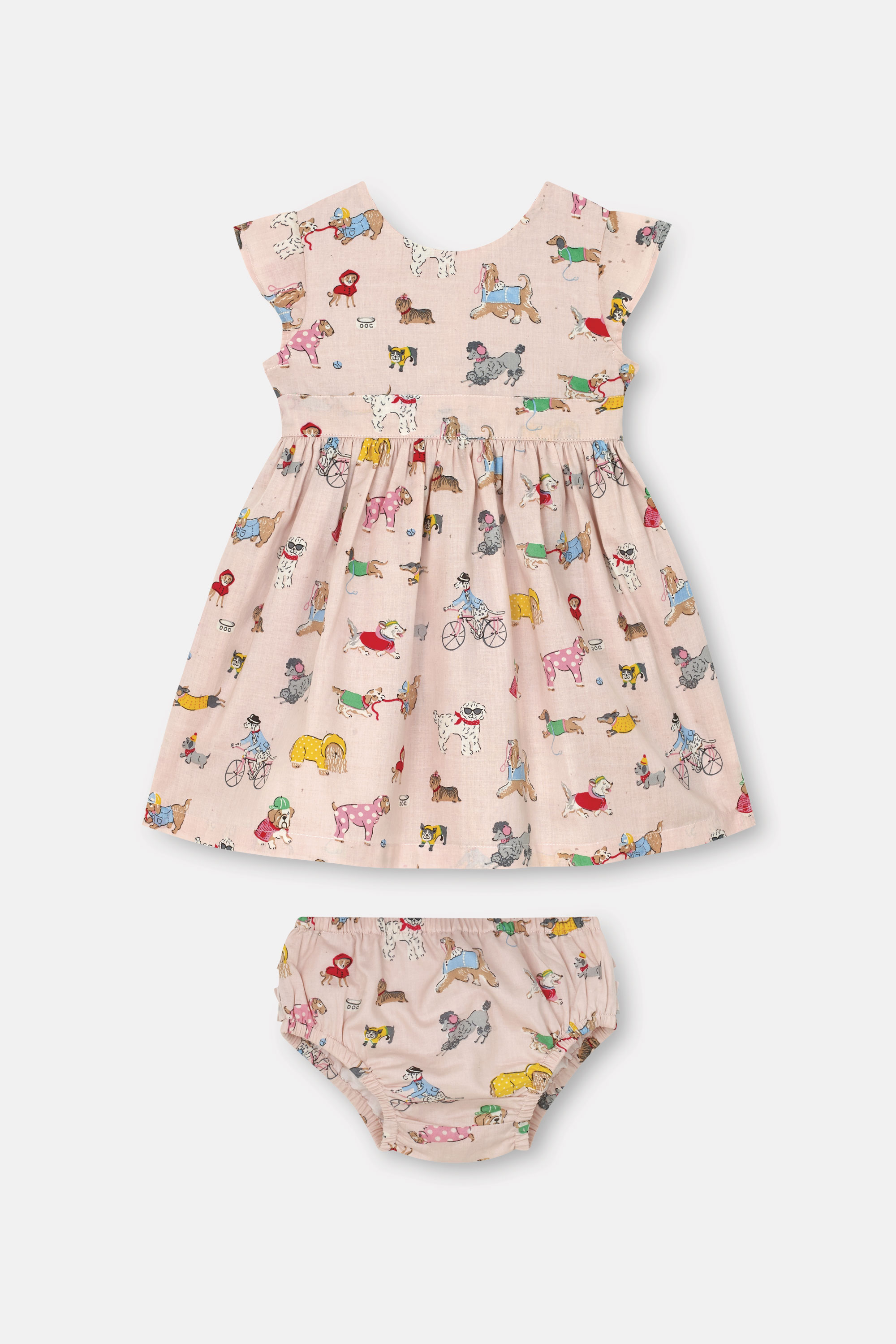 Cath Kidston Small Park Dogs Baby Ayda Dress in Soft Pink, 9-12 Mo