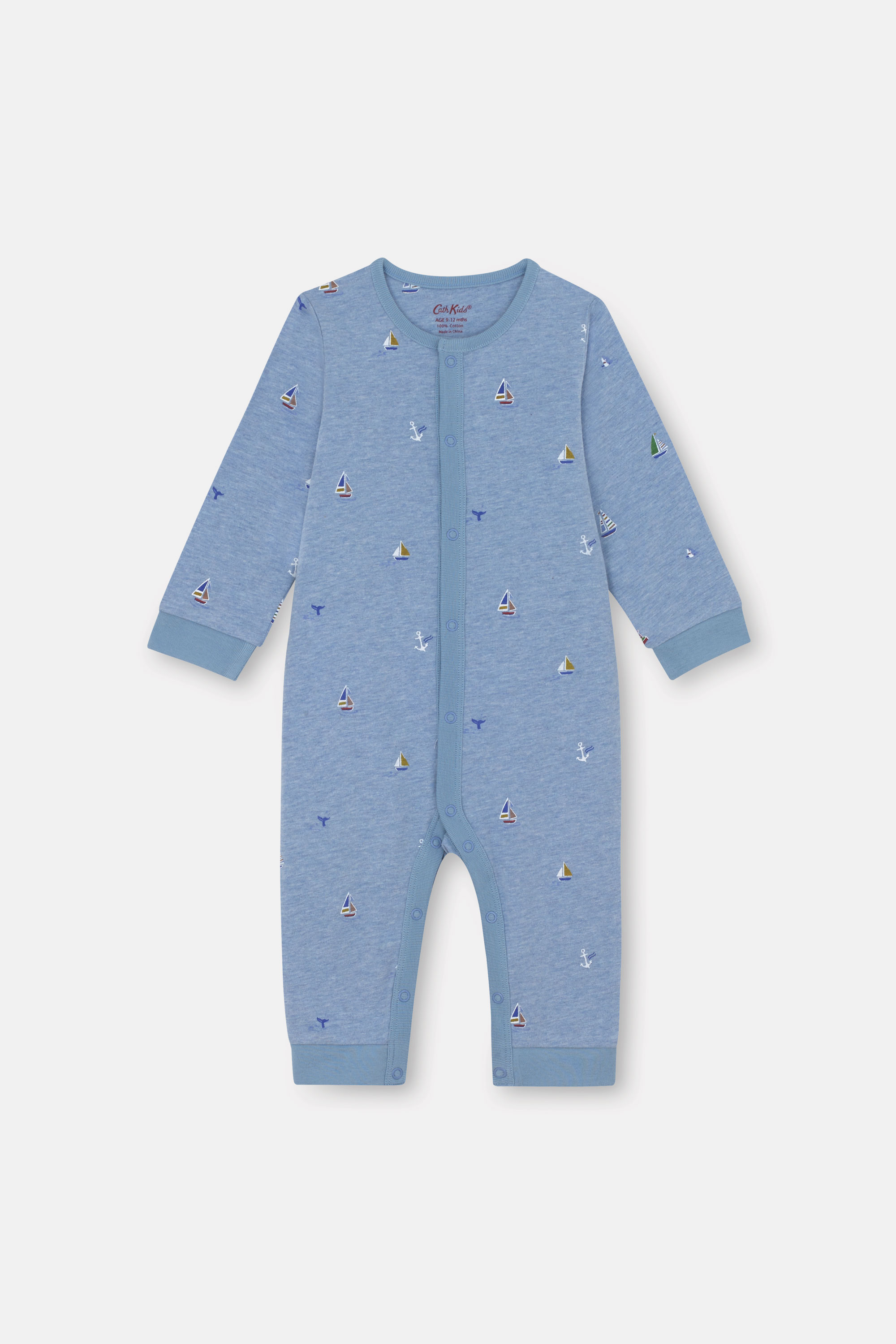 Cath Kidston Small Sail Boats Footless Sleepsuit in Blue Marl, 3-6 Mo