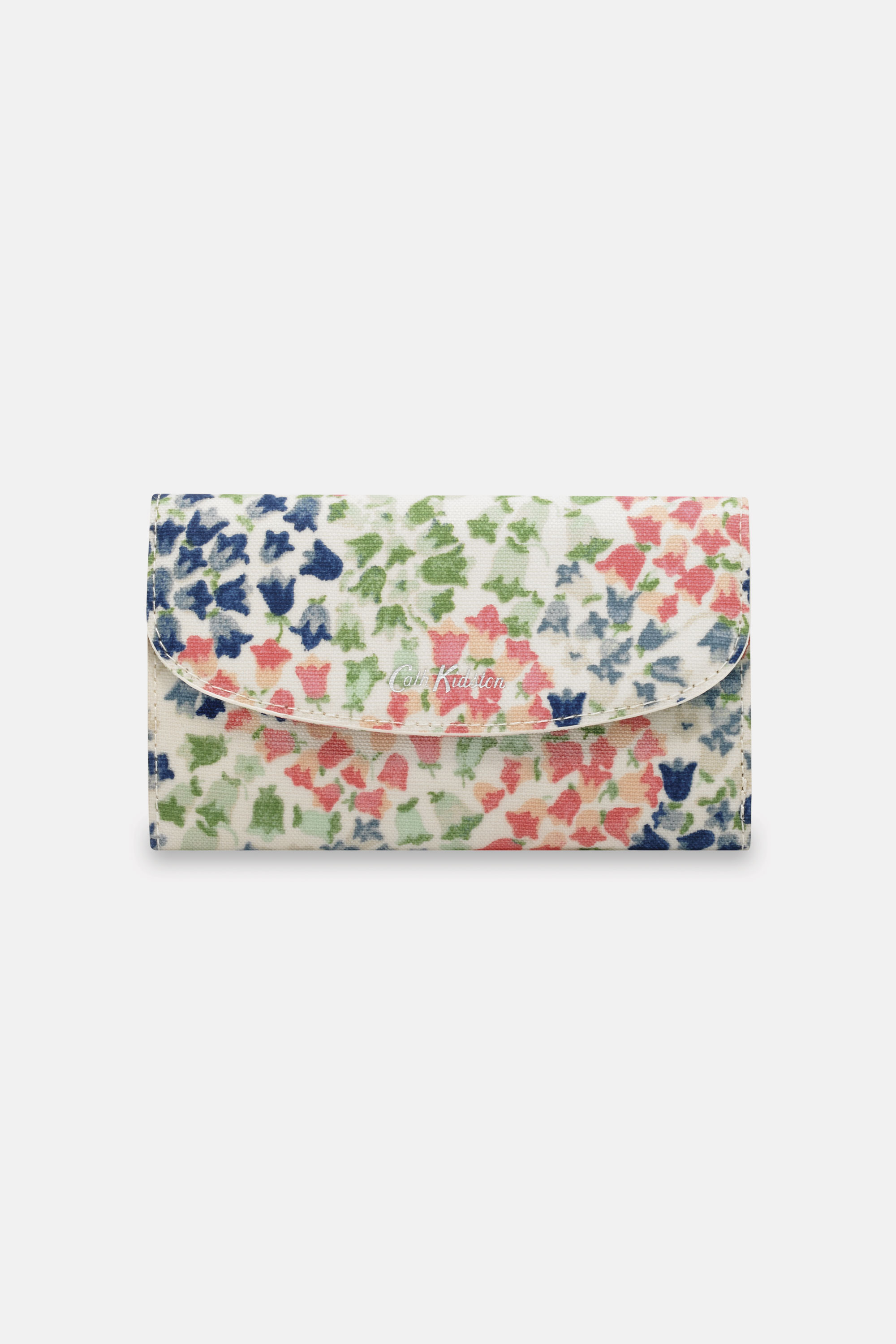 Cath Kidston Tiny Painted Bluebell Foldover Wallet in Warm Cream