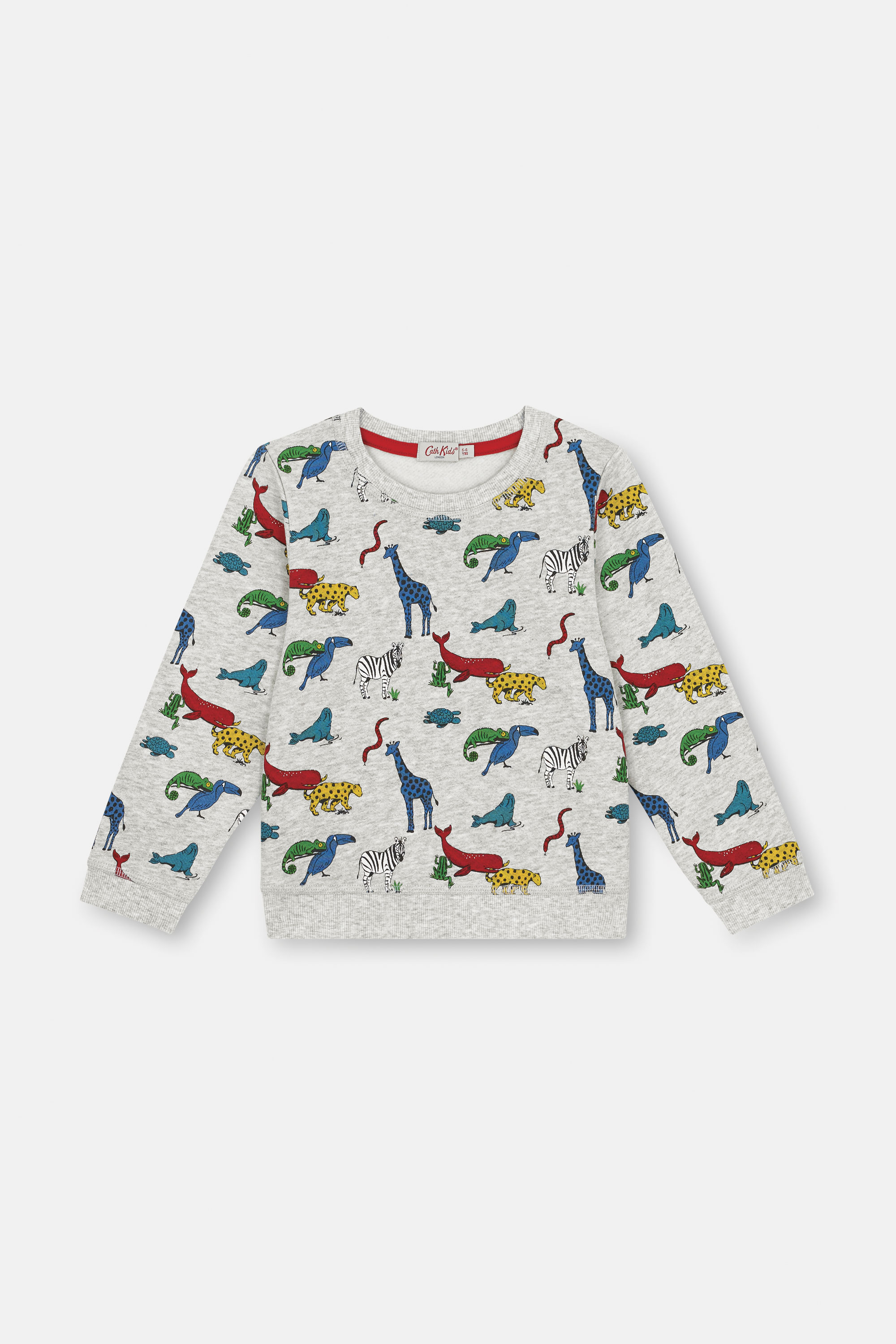 Cath Kidston Animals Oscar Sweatshirt in Grey Marl, 1-2 yr