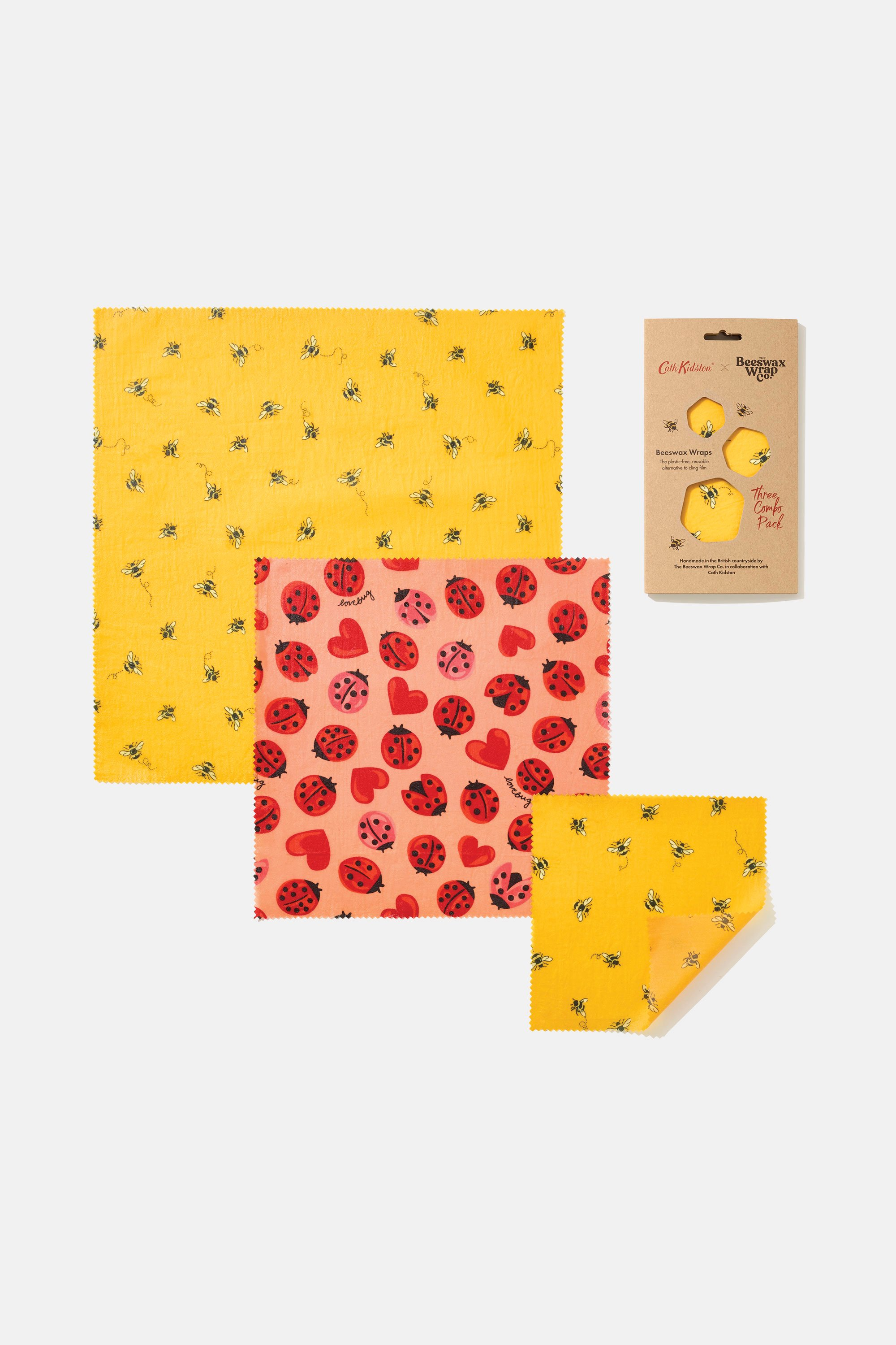 Cath Kidston The Beeswax Wrap Co. Bee 3 Wrap Combo Pack in Deep Yellow