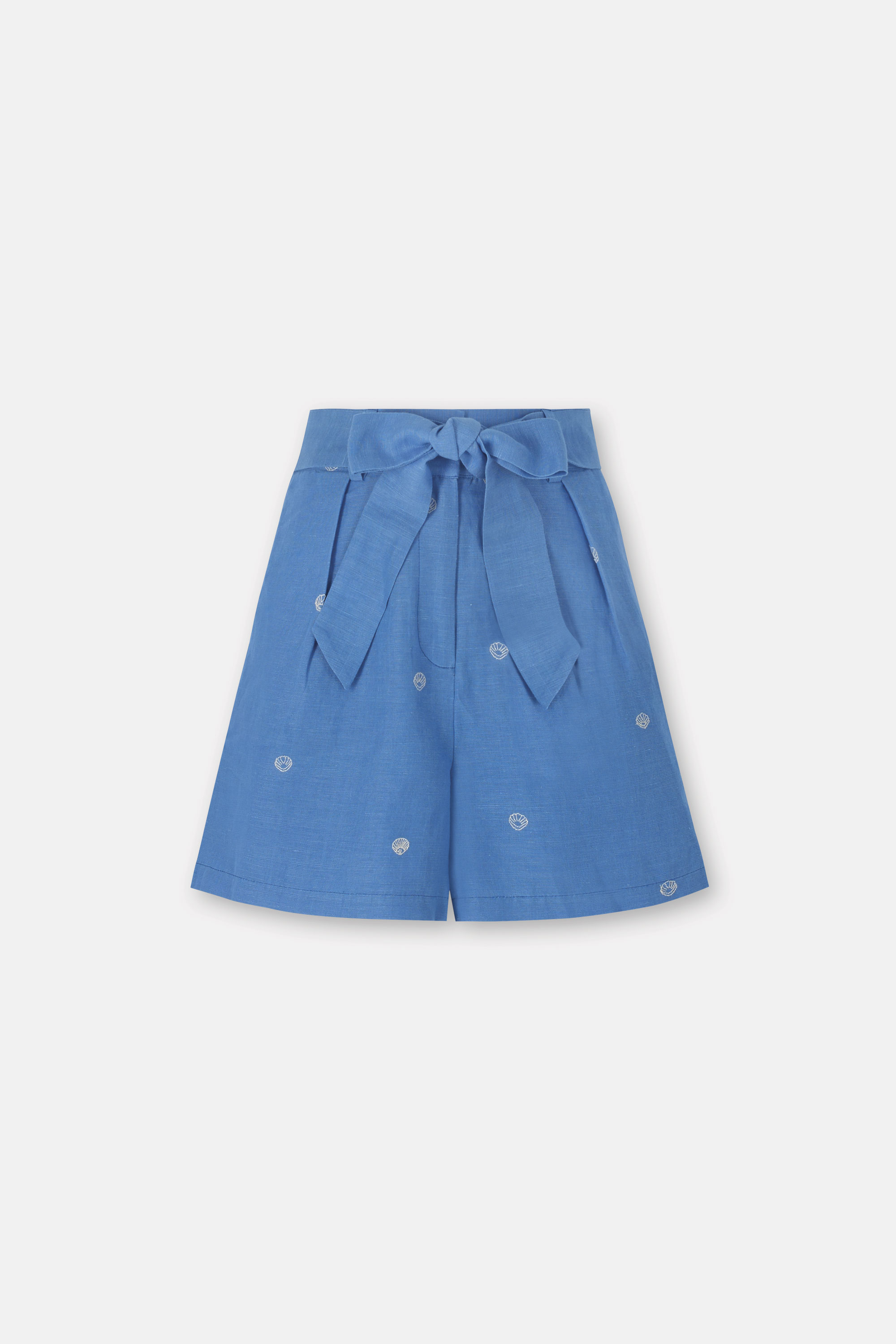 Cath Kidston Embroidered Tie Waist Shorts in Chambray, Seaside Shells, 100% Linen, 14