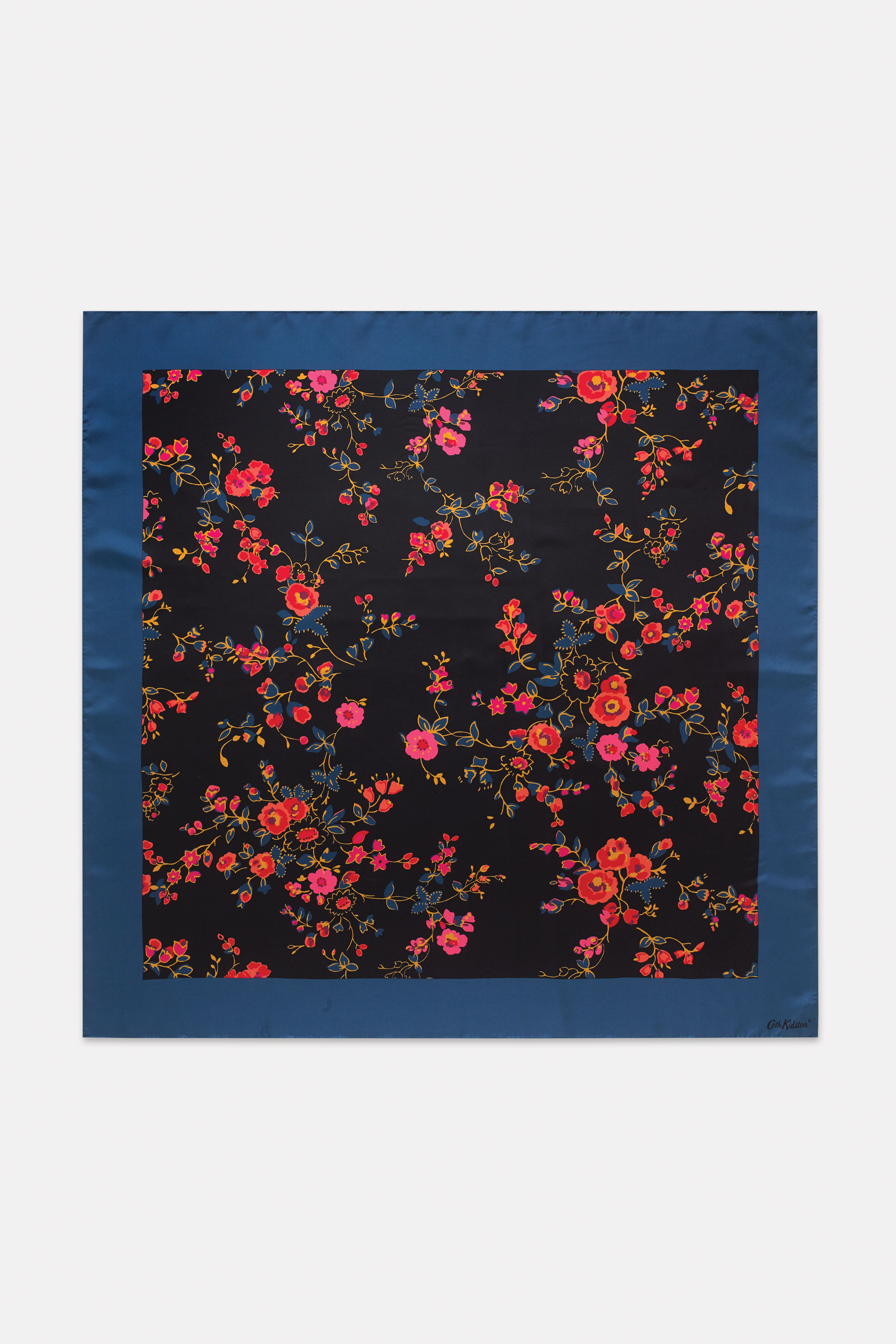 Cath Kidston Millfield Rose Large Square Silk Scarf in Charcoal