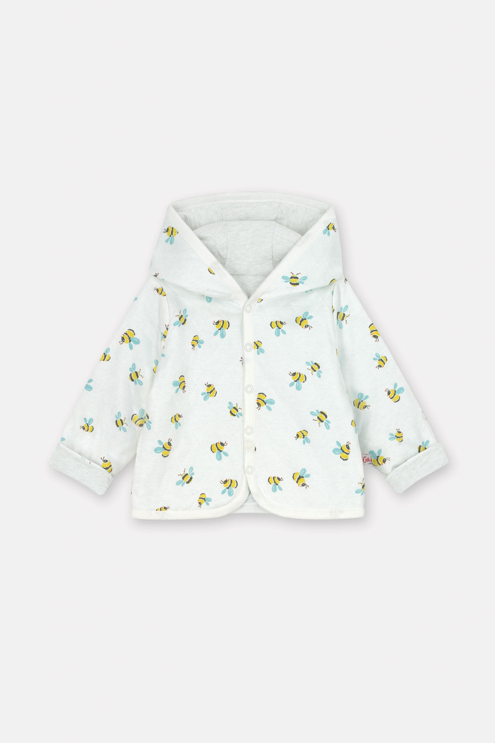 Cath Kidston Buzzy Bee Baby Quilted Hooded Jacket in Ivory, 6-9 Mo