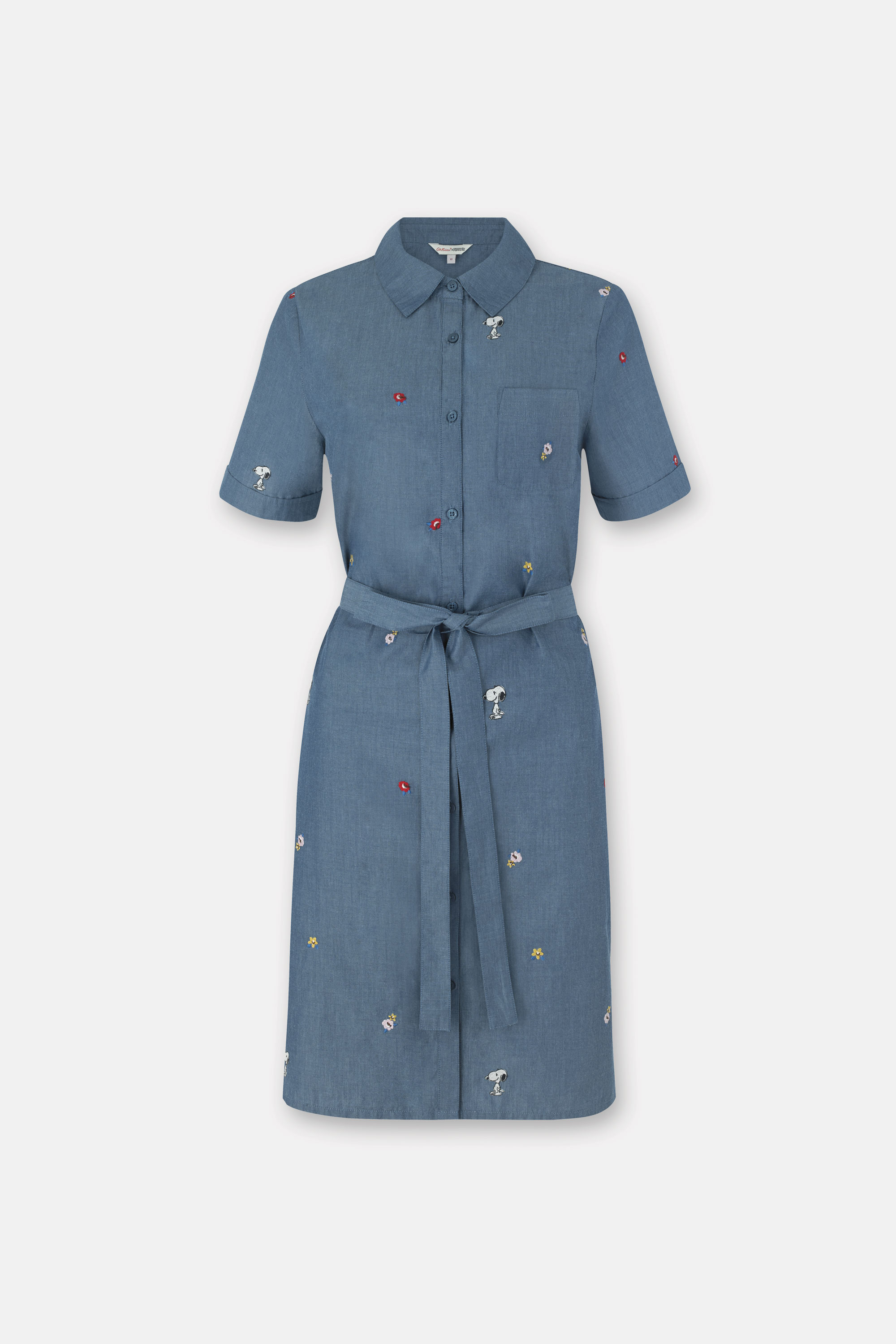 Cath Kidston Snoopy Kingswood Spaced Dress in Chambray, 100% Cotton, 8