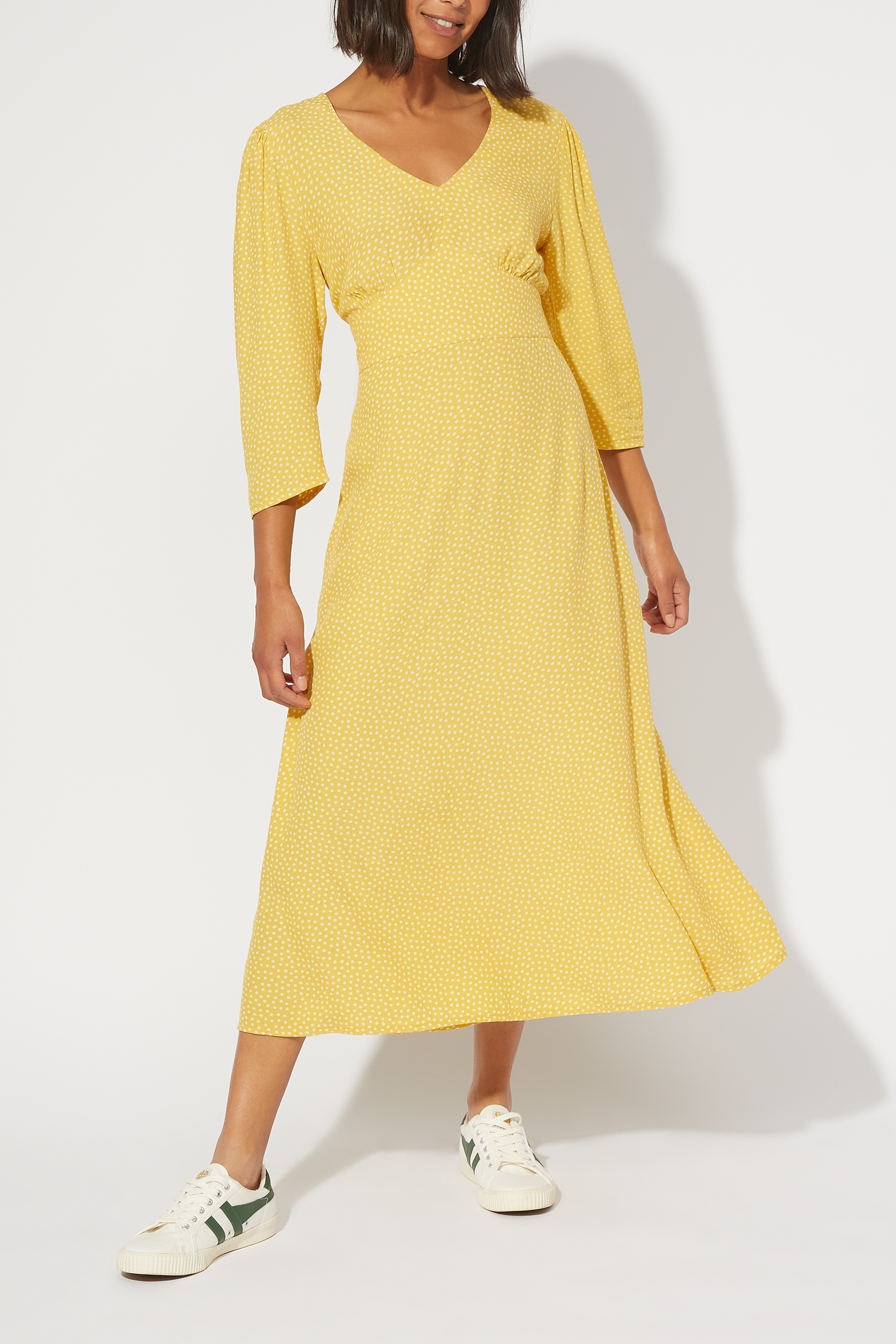 Cath Kidston Scattered Spot Printed Tea Dress in Yellow, 6