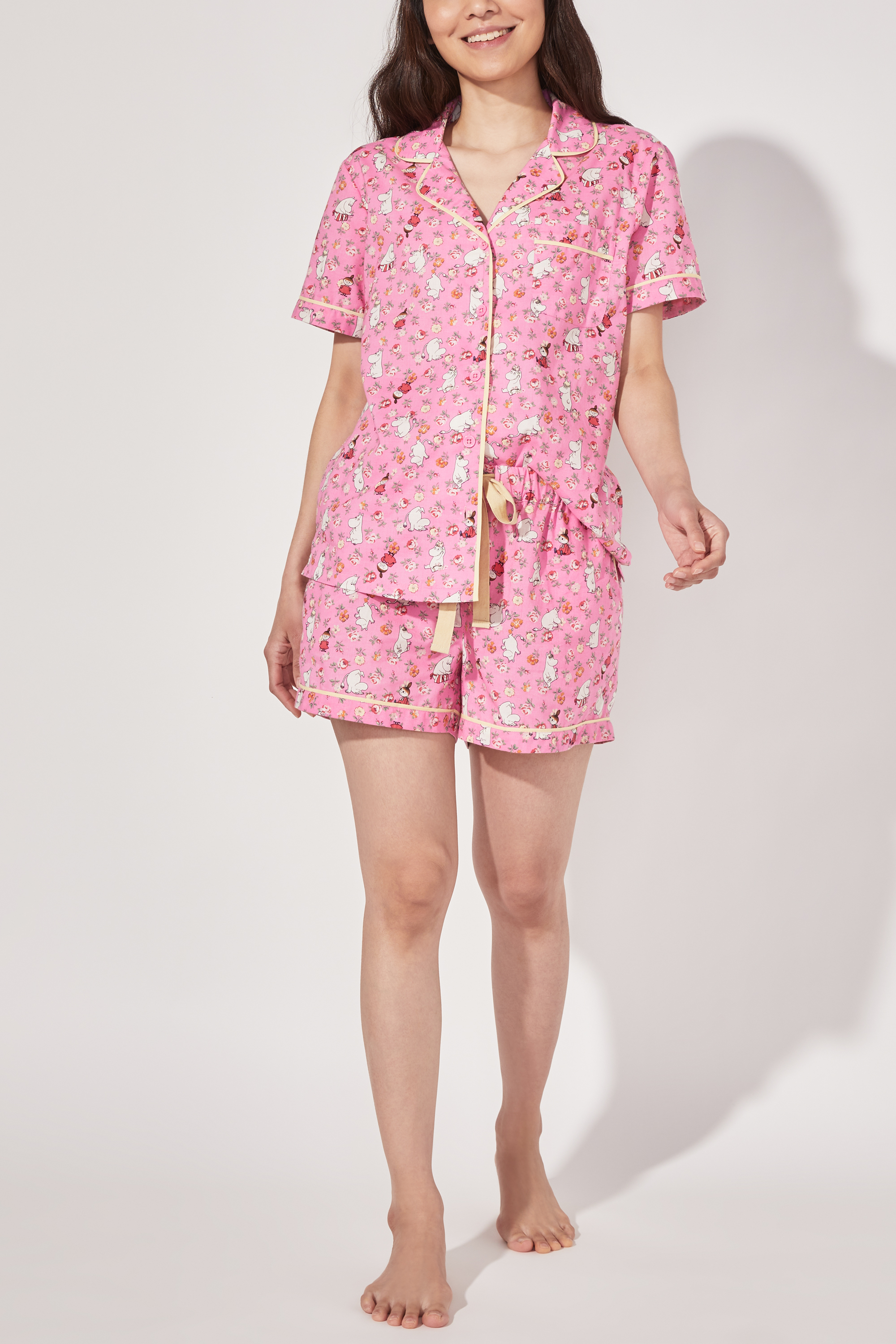 Cath Kidston Moomin Linen Sprig Short Woven PJ Set in Pink, Size Large