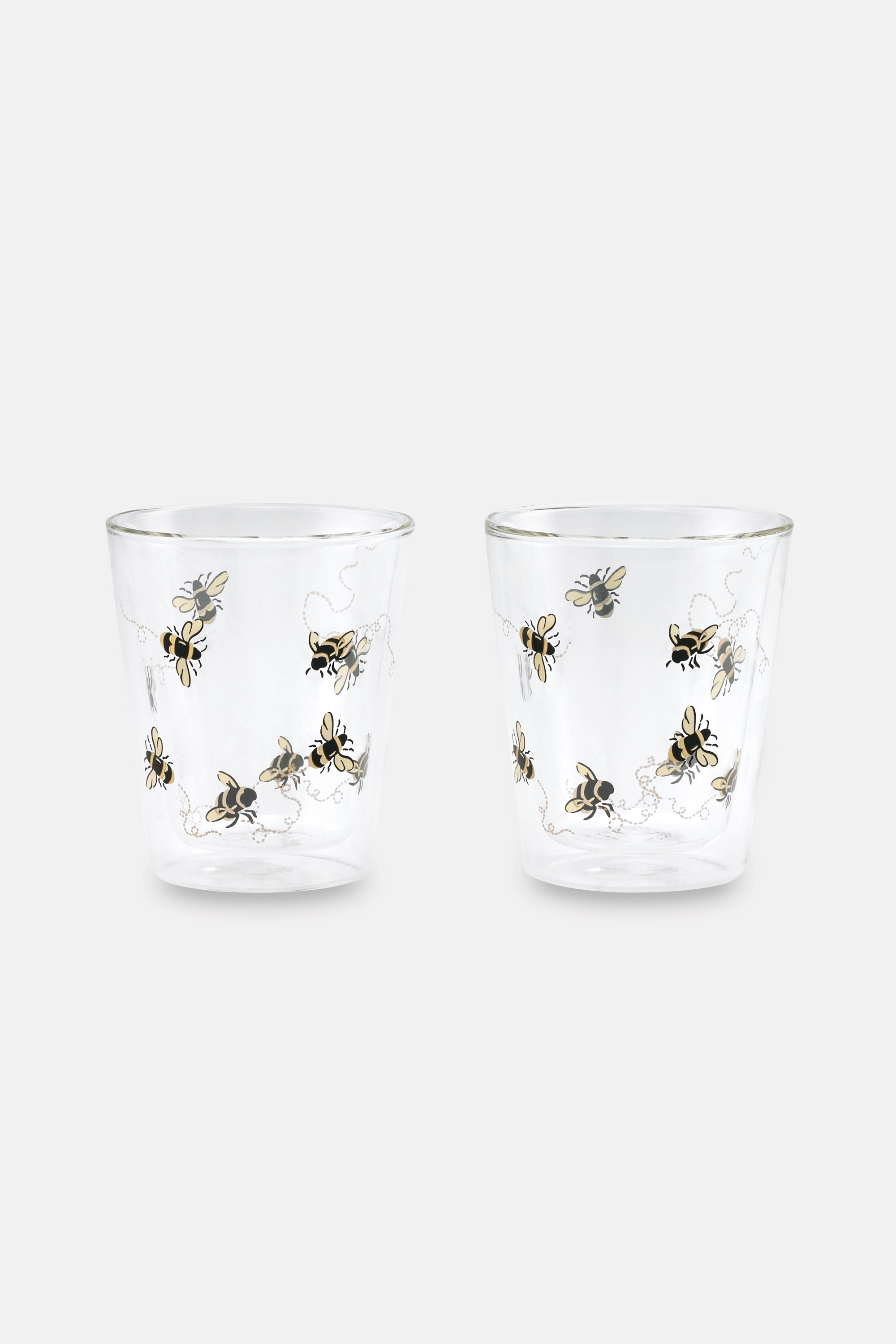 Cath Kidston Bee Double Walled Glass Set in Warm Cream