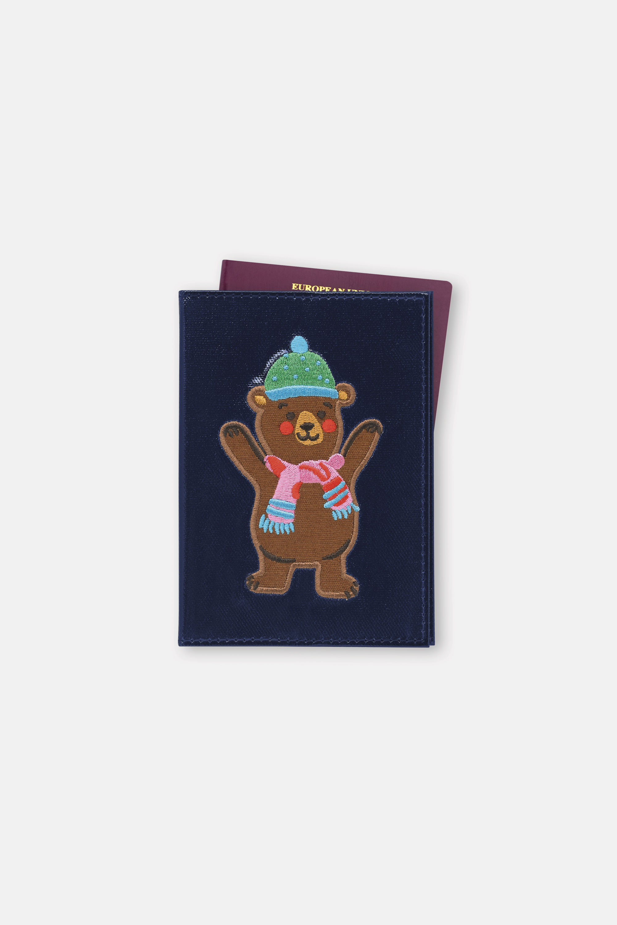 Cath Kidston Woodland Bear Passport Holder in Navy