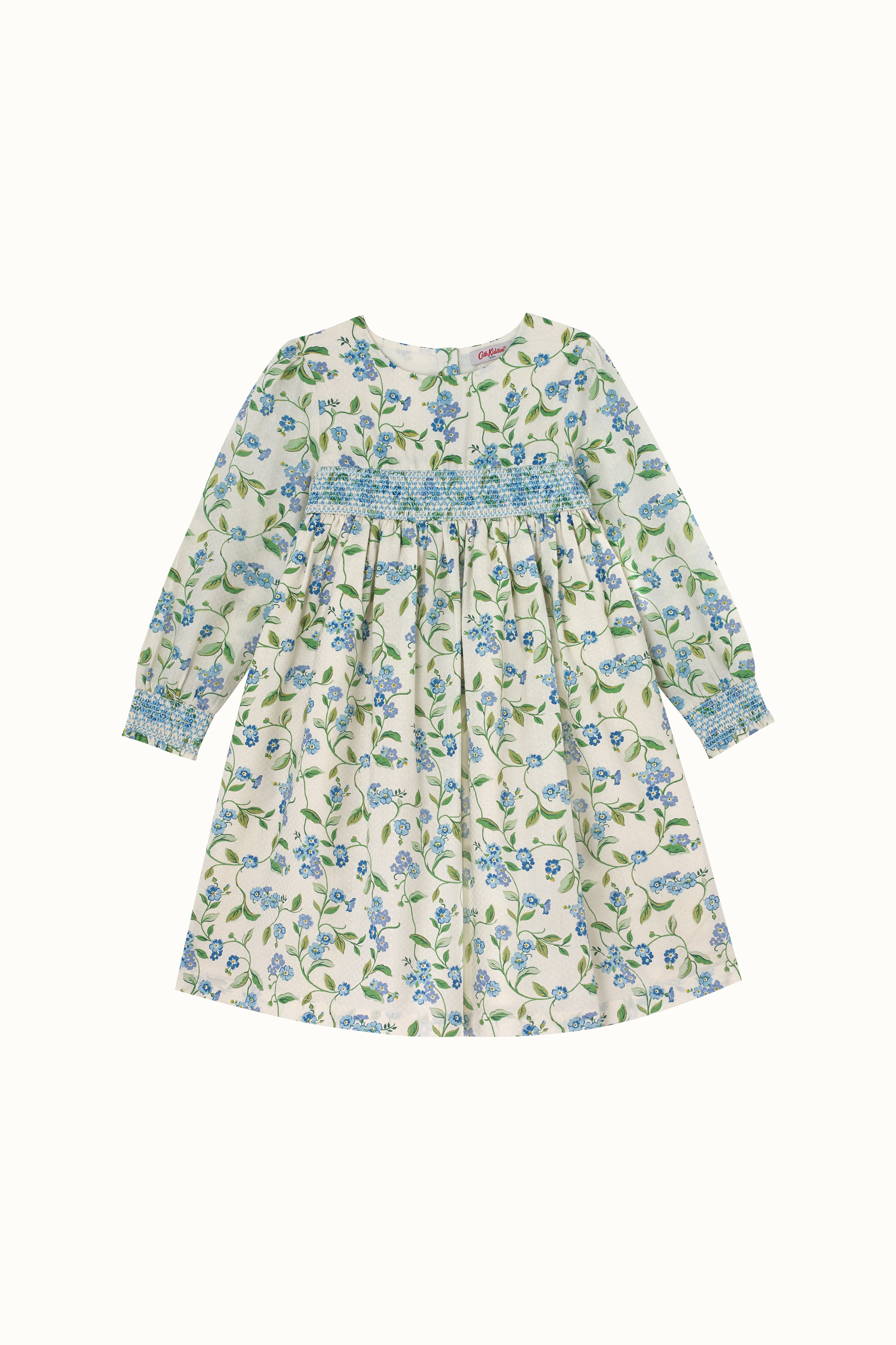 Cath Kidston Forget Me Not Evie Shirred Dress in Cream, 8-9 yr