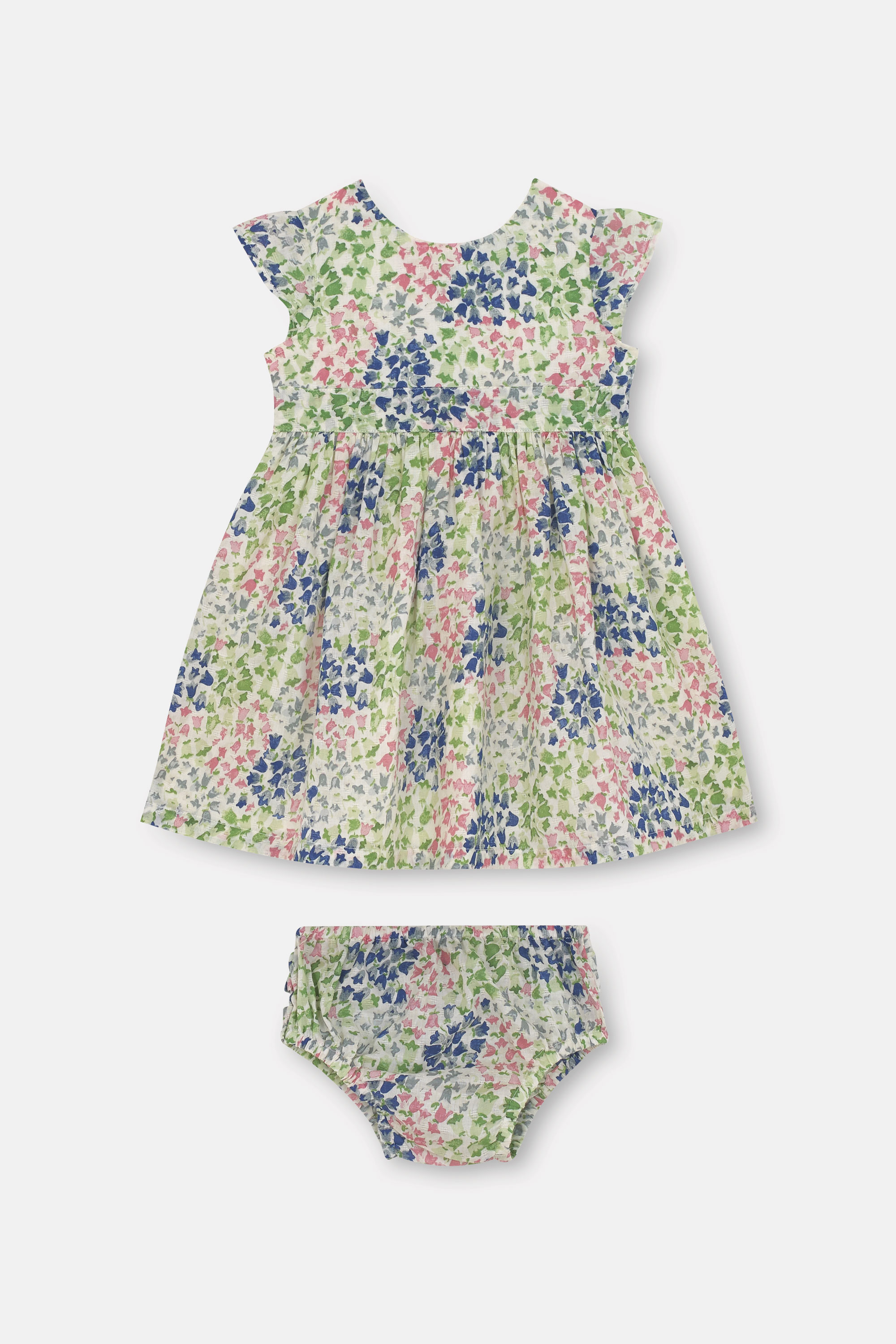 Cath Kidston Tiny Painted Bluebell Baby Ayda Dress in Warm Cream, 18-24 Mo