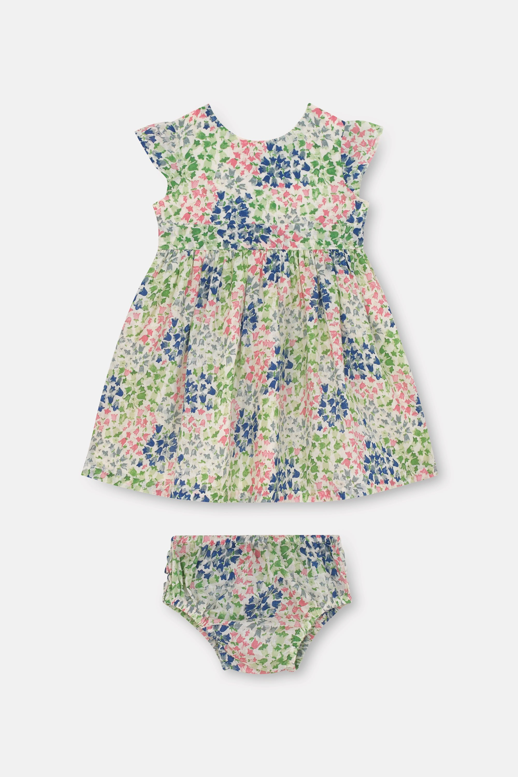 Cath Kidston Tiny Painted Bluebell Baby Ayda Dress in Warm Cream, 9-12 Mo