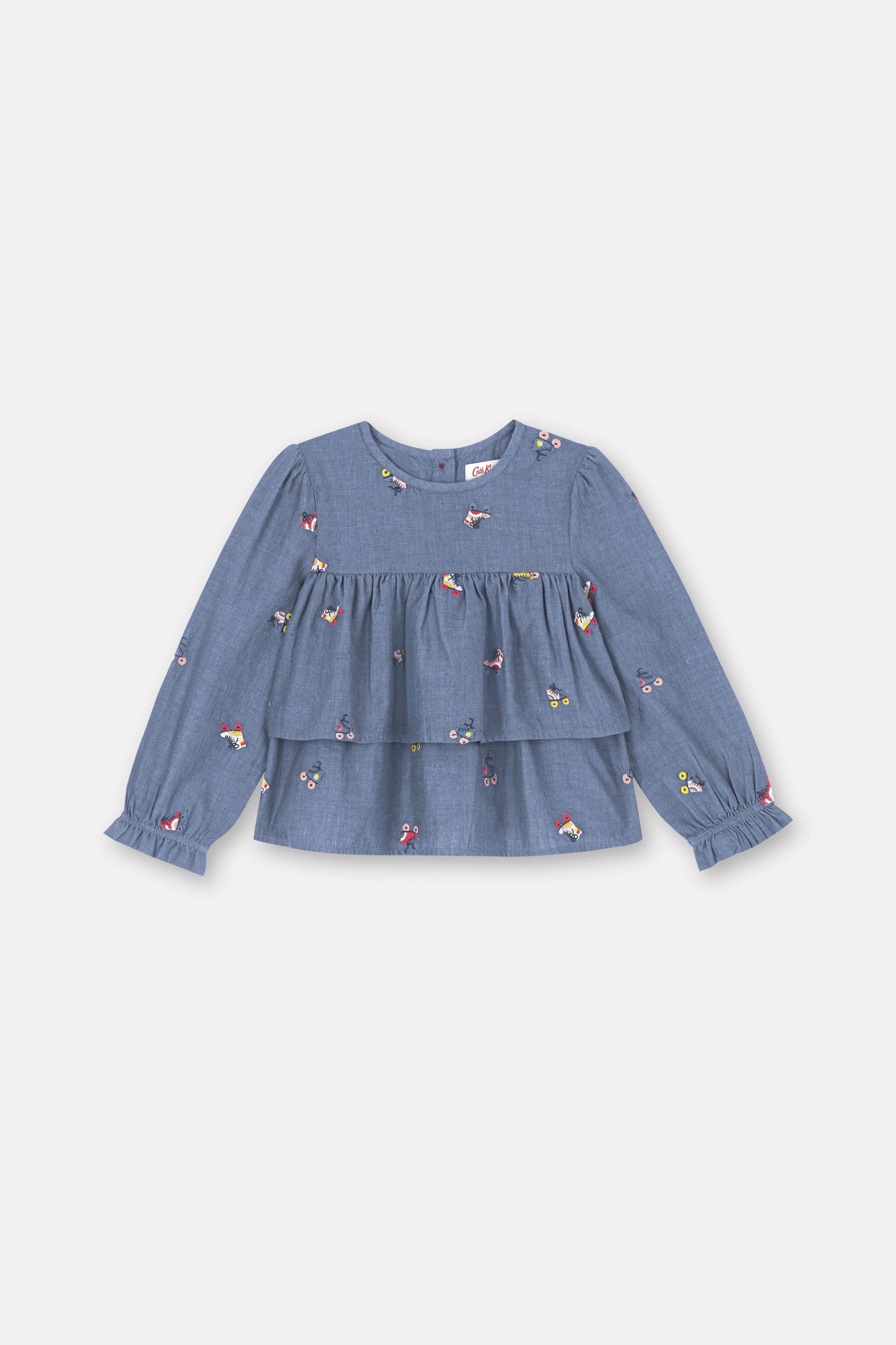 Cath Kidston Kids Embroidered Chambray Tierred Top, Rollerskates, 100% Cotton Chambray, 5-6 yr