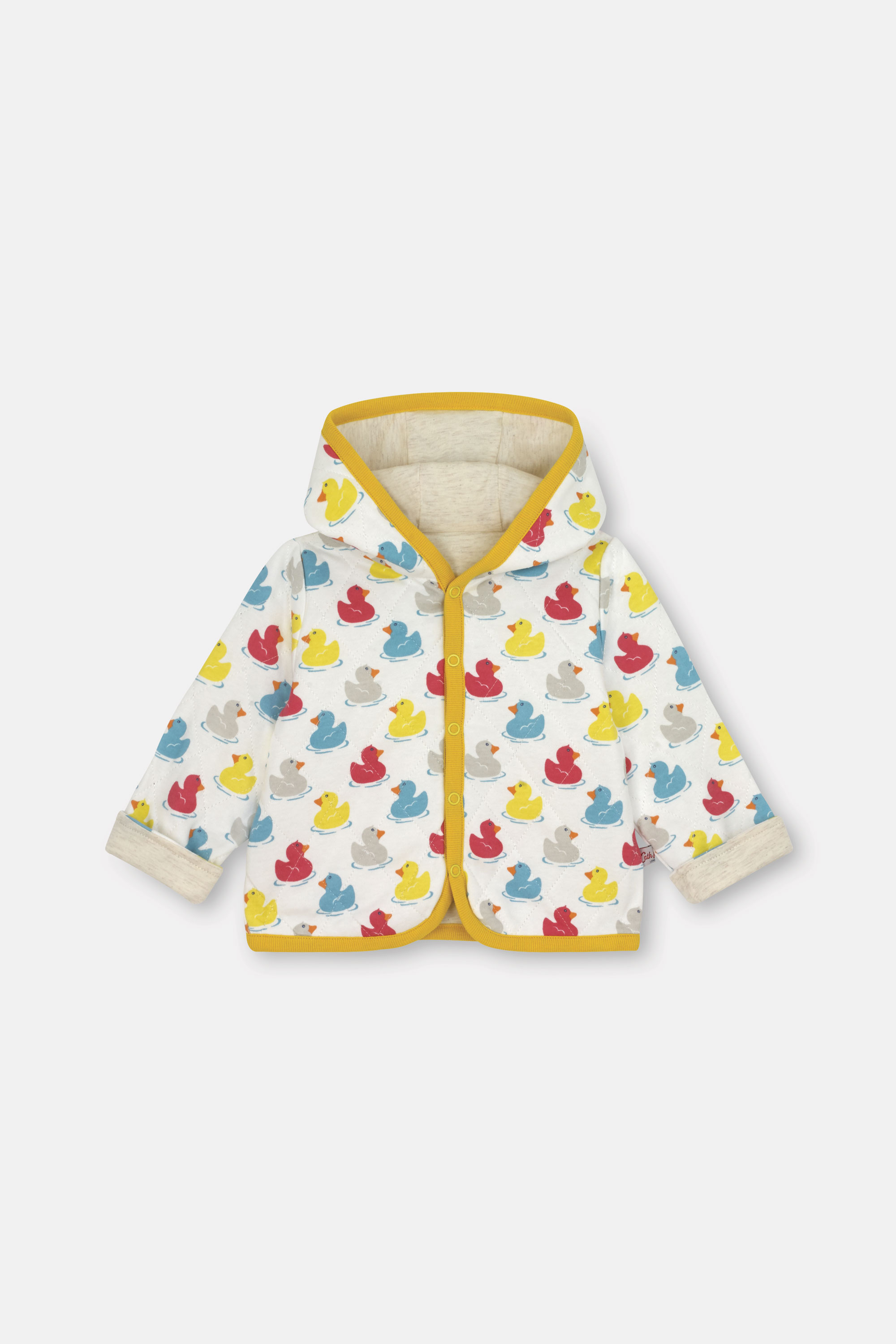 Cath Kidston Rubber Duck Baby Hooded Quilted Jacket in Cream, 6-9 Mo