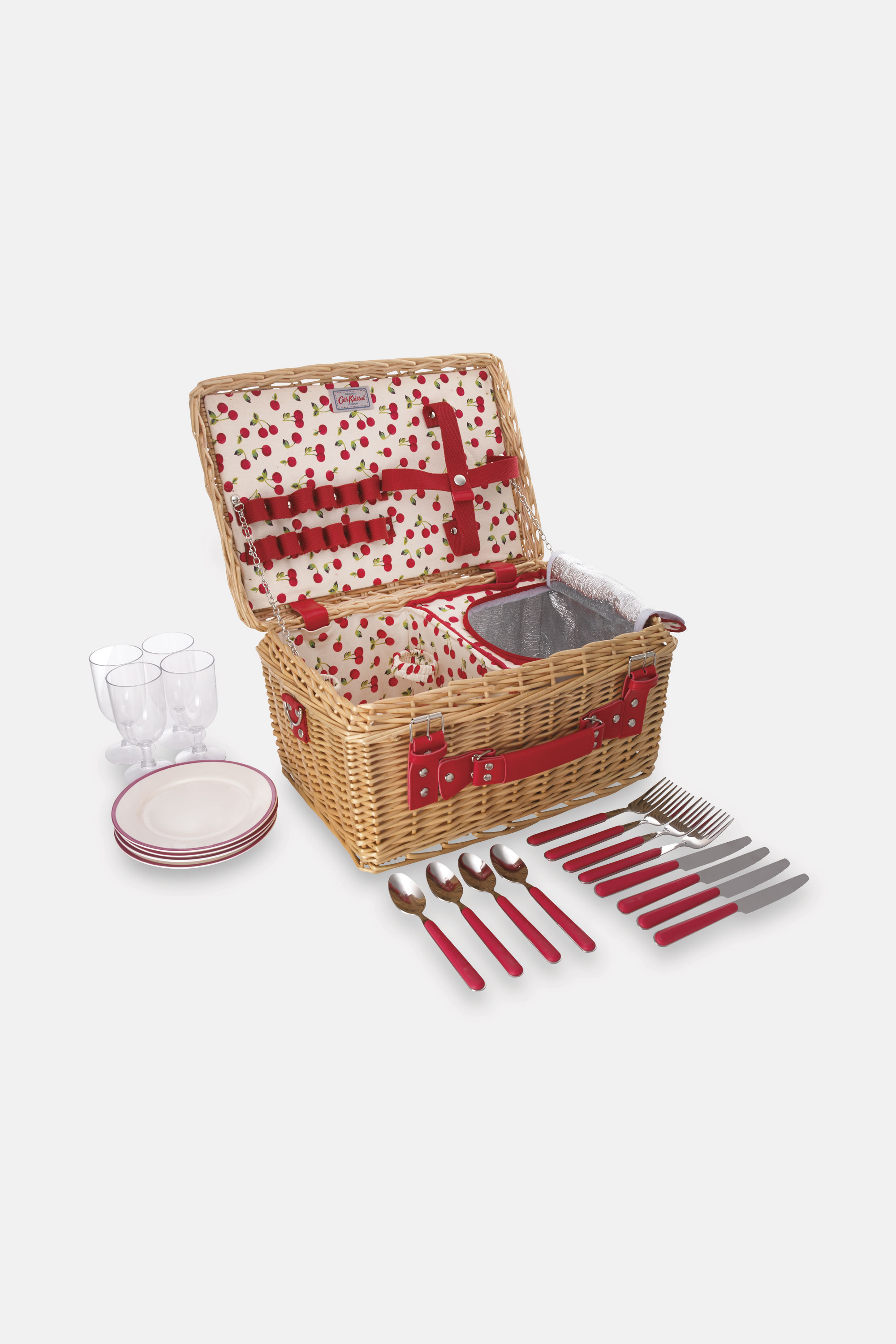Cath Kidston Cherries Picnic Basket in Ivory, Willow