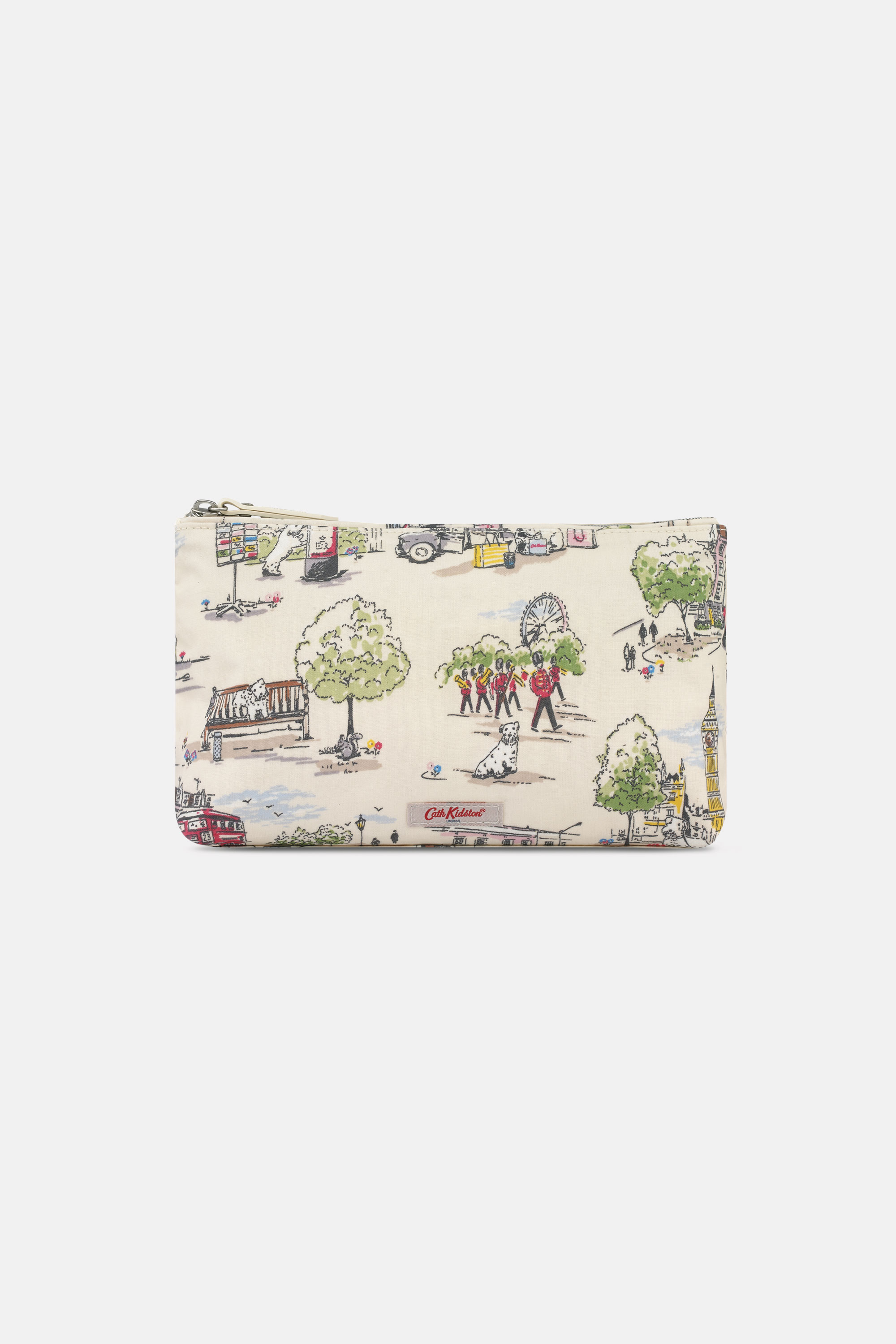 Cath Kidston Matt Zip Cosmetic Bag in Ivory, Billie Goes to Town, 100% PVC Coated Cotton
