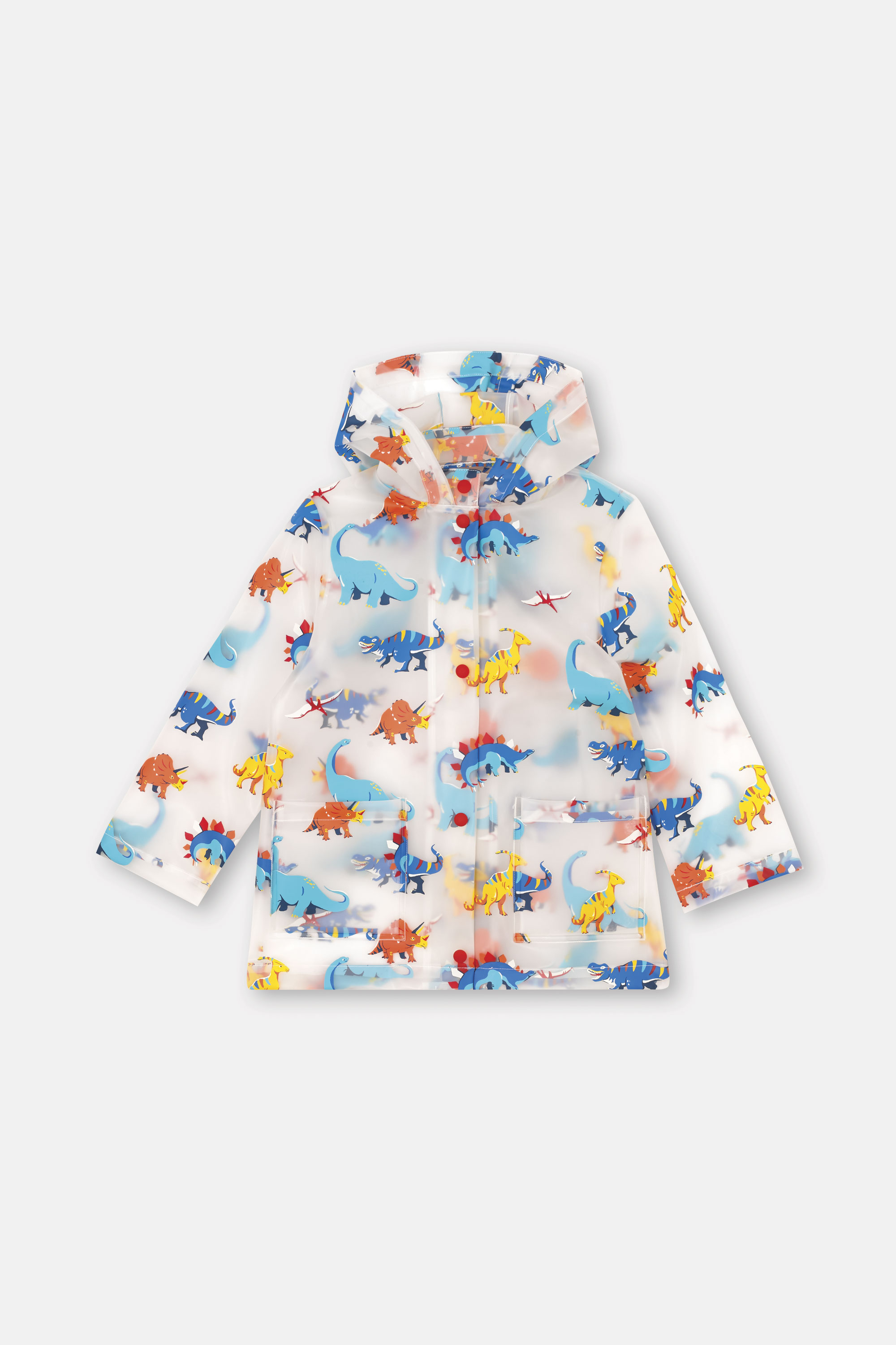 Cath Kidston Dinosaur Jungle Kids Clear Rain Mac Coat in Transparent, 5-6 yr