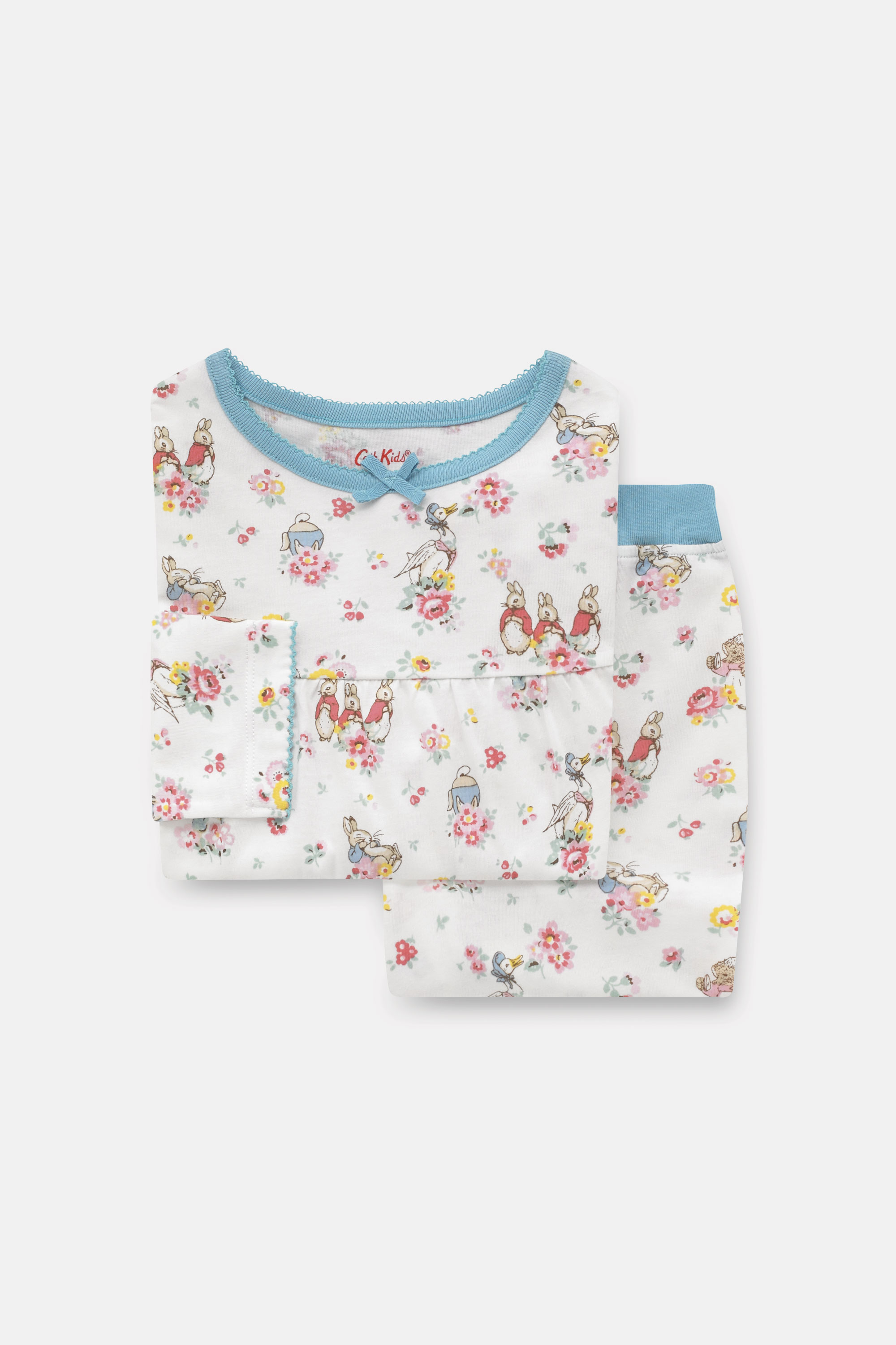 Cath Kidston Peter Rabbit Long Sleeve Jersey Pyjamas in Ivory, 5-6 yr