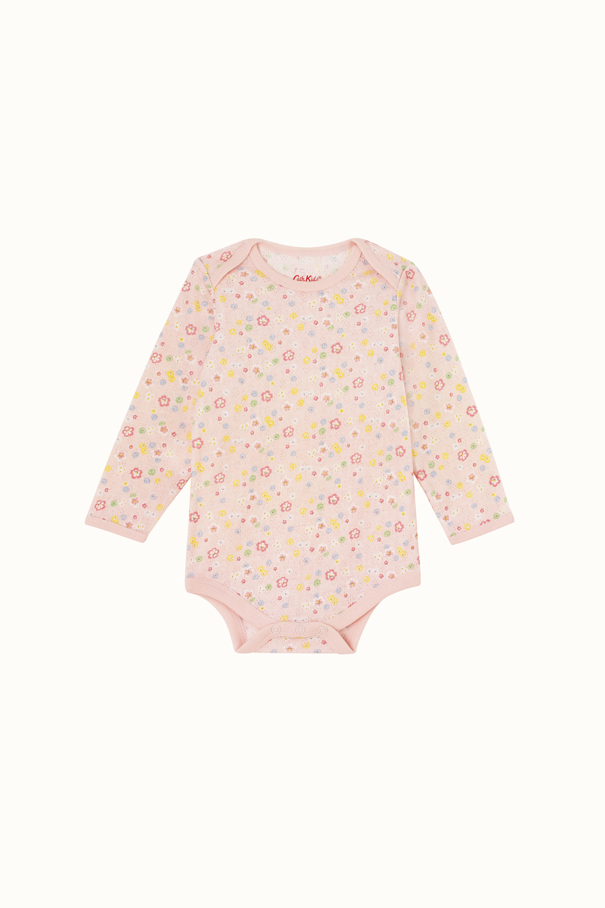 Cath Kidston Baby Ditsy Long Sleeve Envelope Neck Bodysuit in Pale Pink, 9-12 Mo