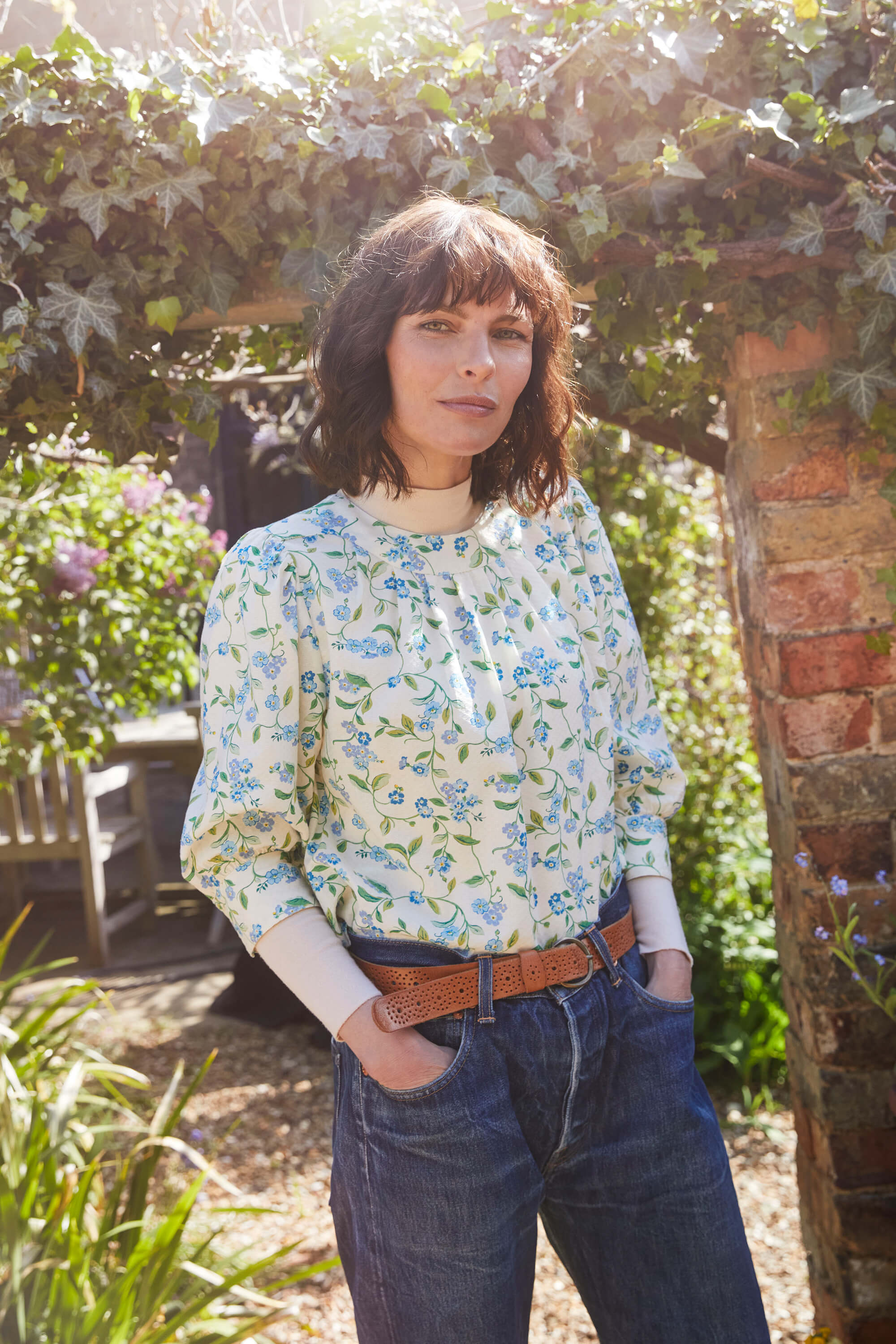 Cath Kidston Forget Me Not Pretty Printed Blouse in Cream, 10