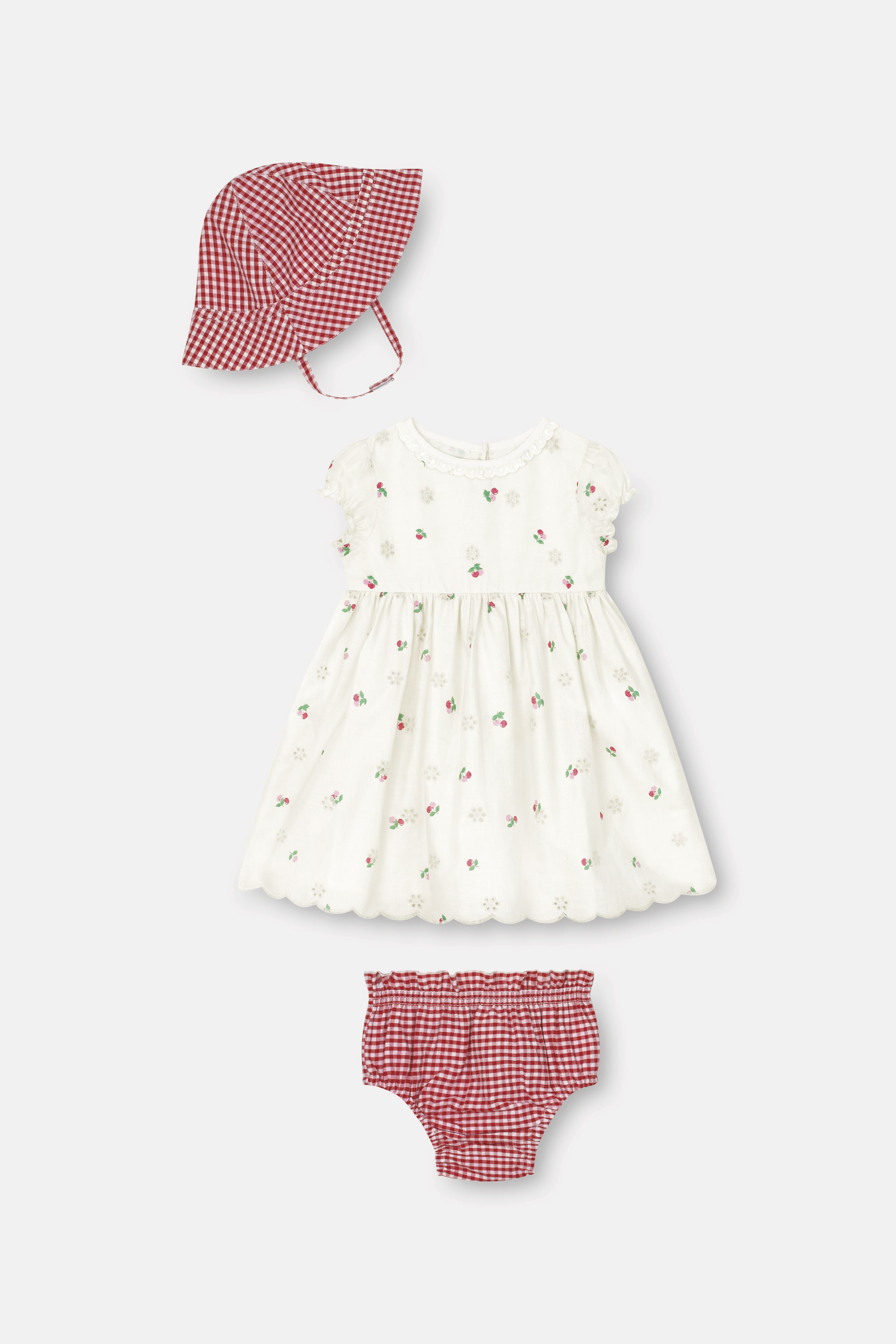 Cath Kidston Mini Cherries Baby Broderie Dress with Bloomers & Hat in Blush, 12-18 Mo