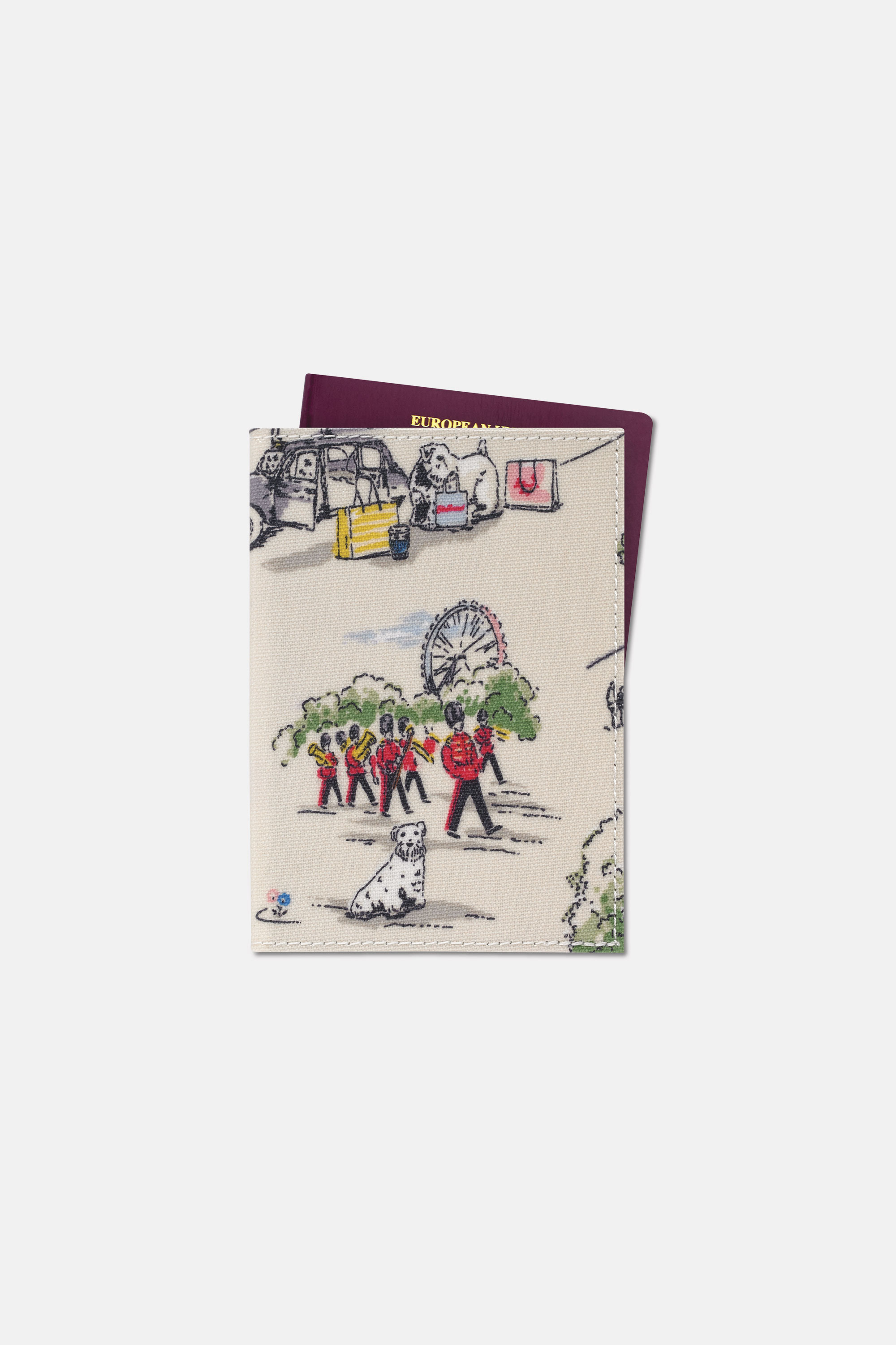 Cath Kidston Passport Holder in Ivory, Billie Goes to Town, 100% PVC Coated Cotton