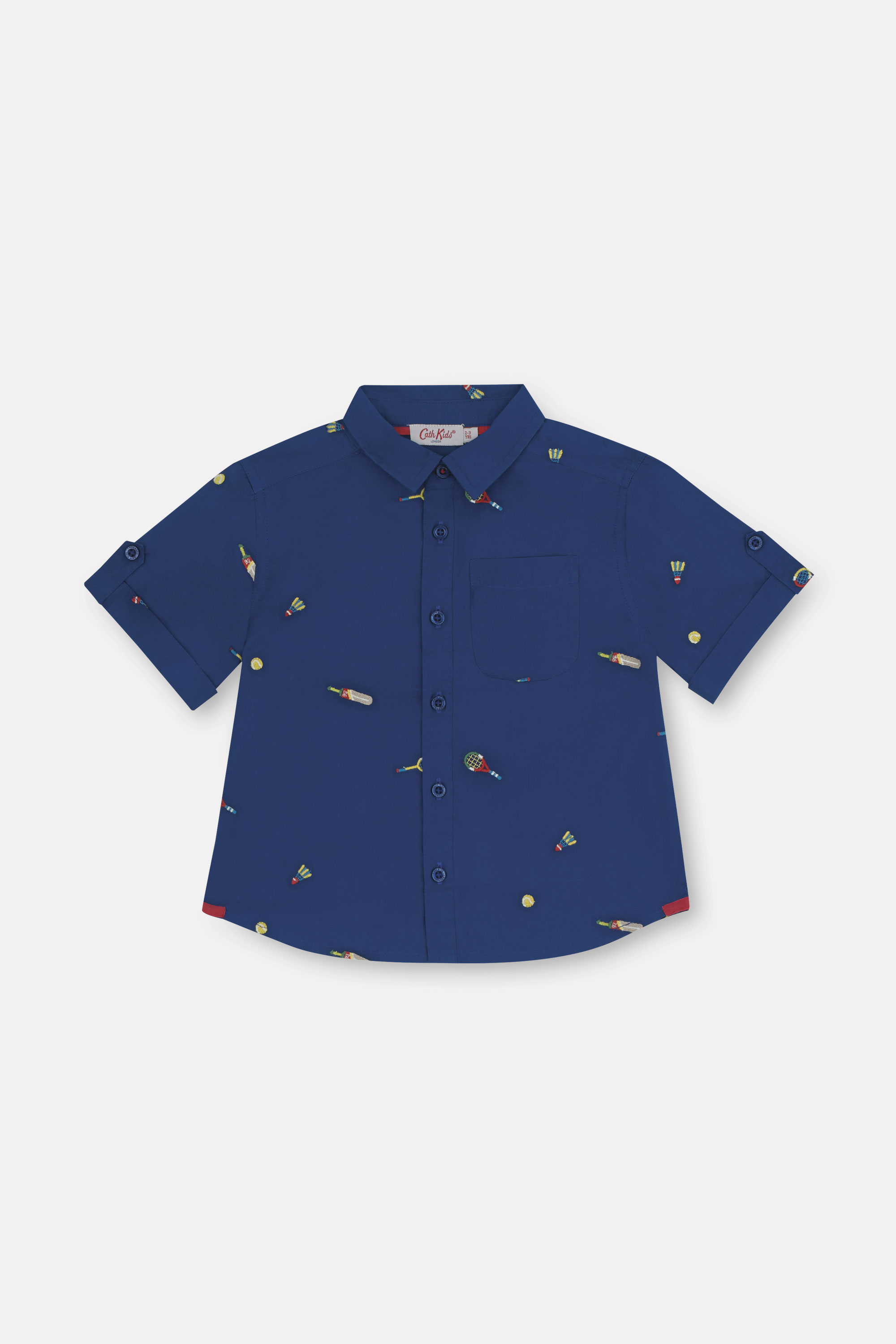 Cath Kidston Mini Sports Embroidered Short Sleeve Oliver Shirt in Dark Blue, 1-2 yr