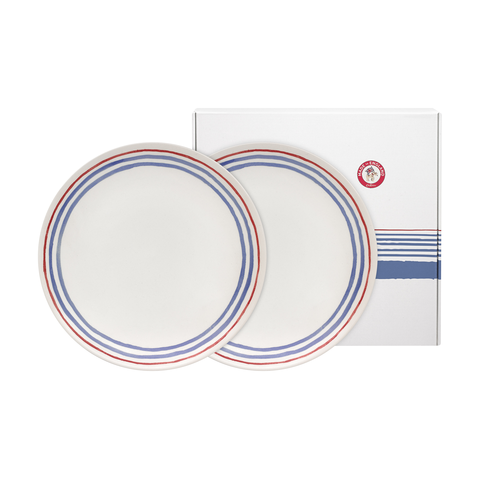Cath Kidston Made in England Set of Two Dinner Plates in Off White, China Stripe, 100% Earthenware