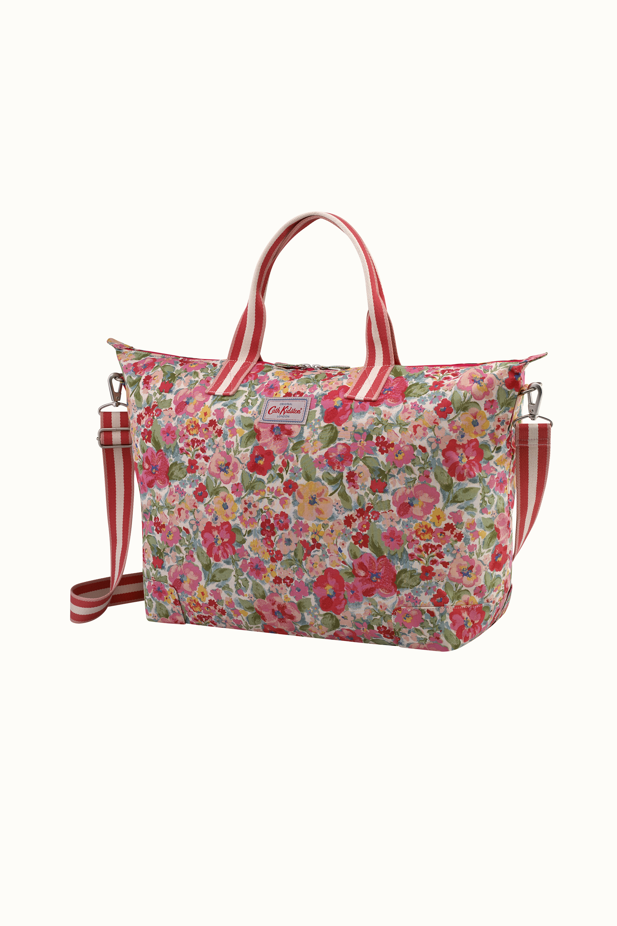 Cath Kidston Small Painted Bloom Foldaway Holiday Bag in Warm Cream