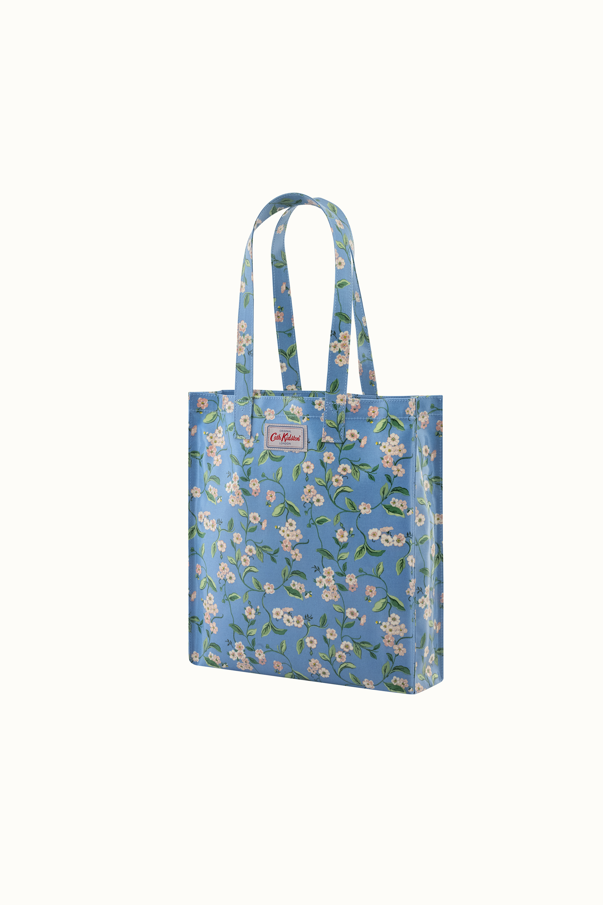 Cath Kidston Forget Me Not Shiny Bookbag with Gusset in Cream