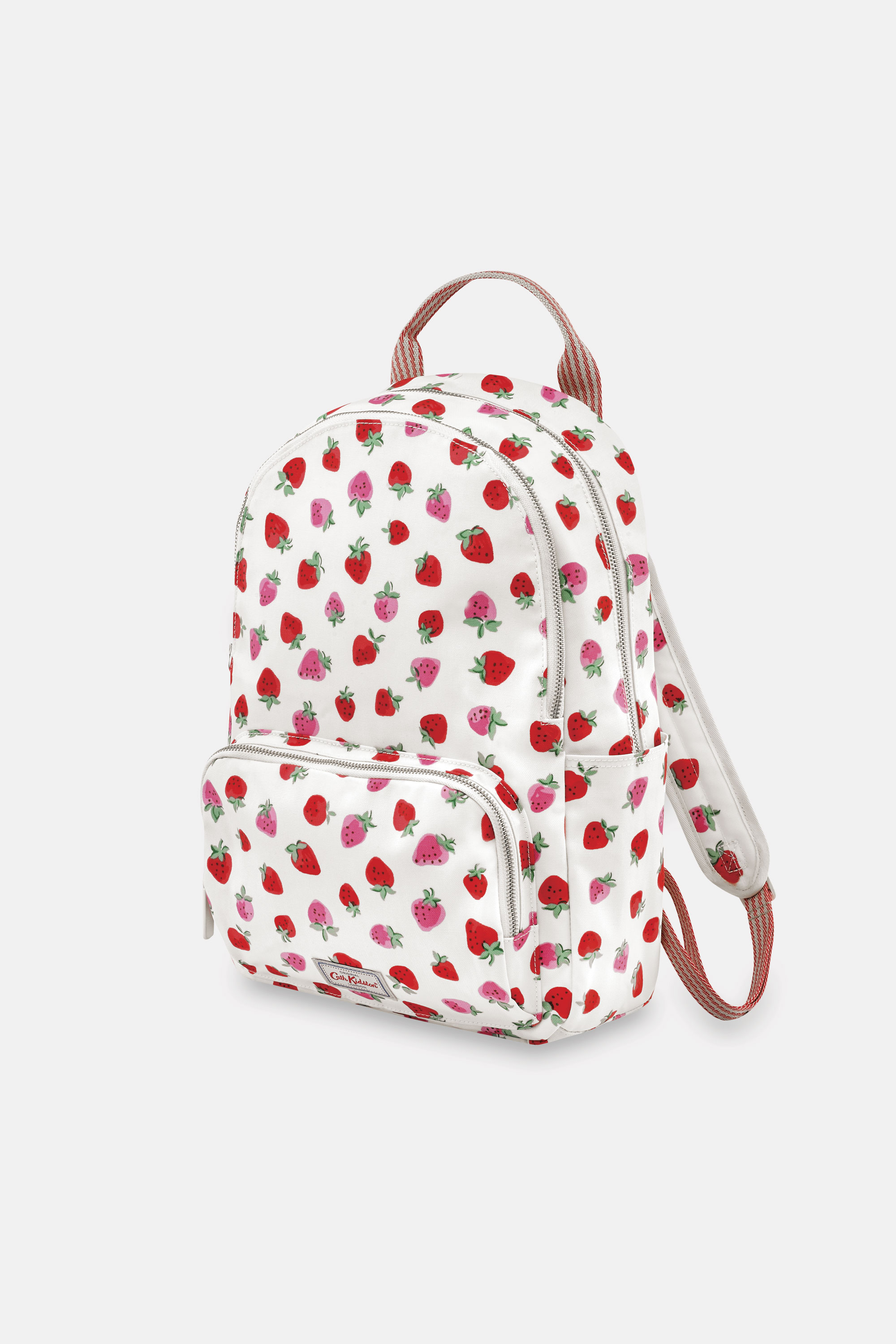Cath Kidston Sweet Strawberry Pocket Backpack in Ivory, 100% PVC Coated Cotton