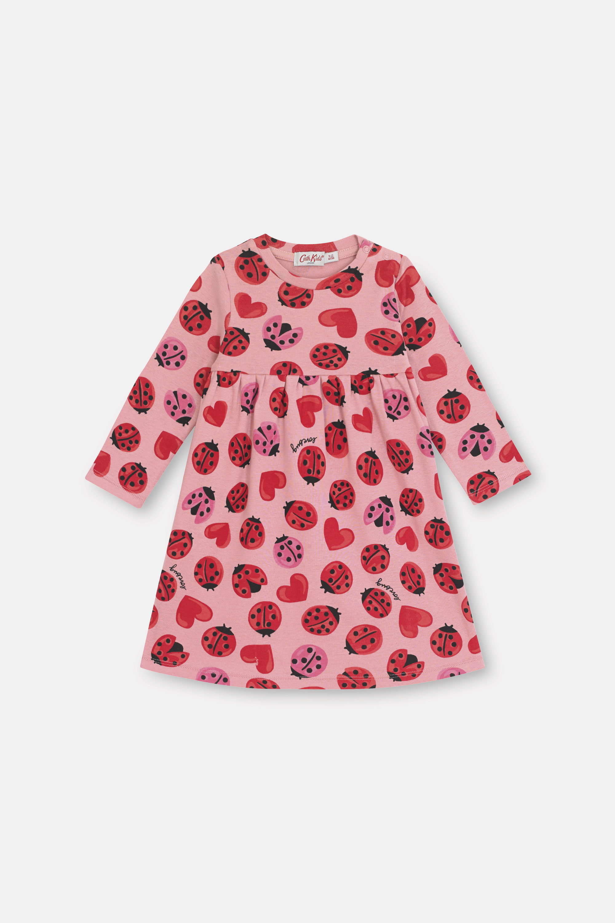 Cath Kidston Lovebugs Baby Long Sleeve Everyday Dress in Pale Rose, 12-18 Mo